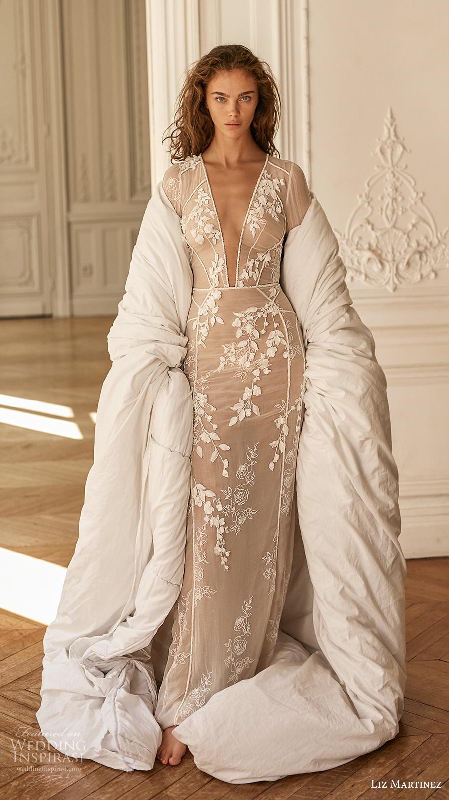 liz martinez 2020 bridal long sleeves deep plunging v neck sheer full embellishment sexy elegant sheath wedding dress sweep train (10) mv