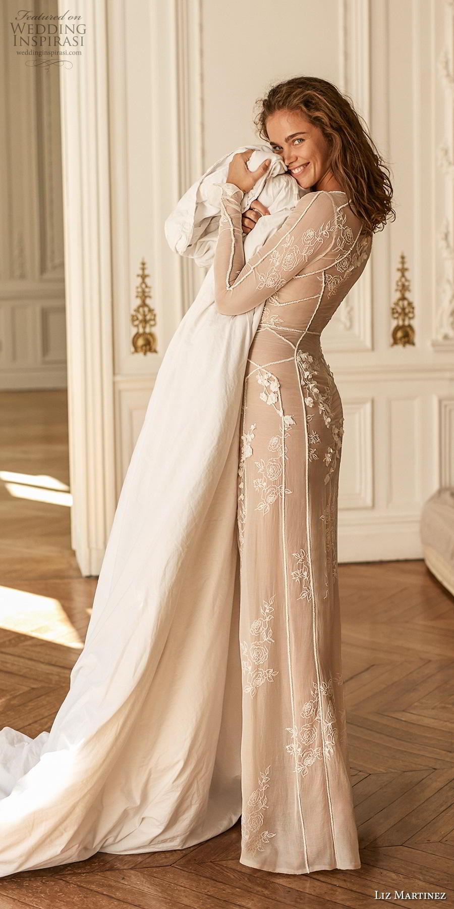 liz martinez 2020 bridal long sleeves deep plunging v neck sheer full embellishment sexy elegant sheath wedding dress sweep train (10) sdv