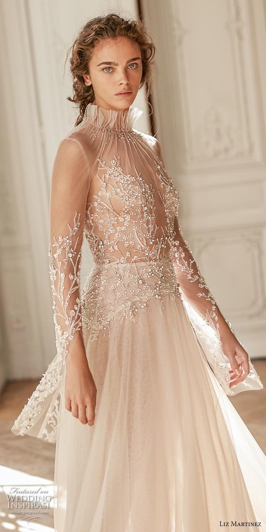 liz martinez 2020 bridal long sleeves high neck heavily embellished sheer bodice soft a  line wedding dress sheer keyhole back chapel train (7) zv