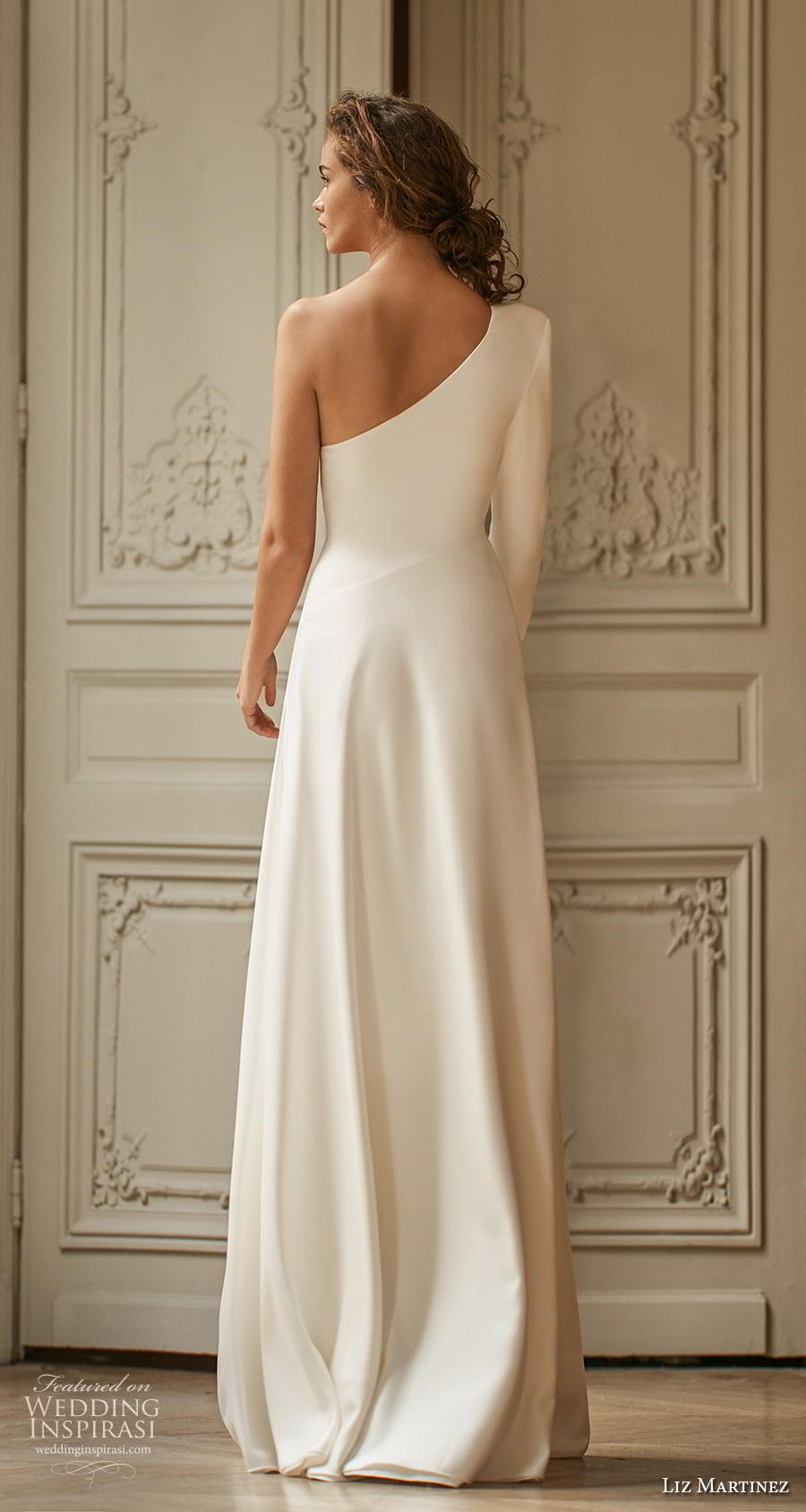 liz martinez 2020 bridal long sleeves one shoulder simple minimalist slit skirt elegant classy modified a  line wedding dress sweep train (3) bv