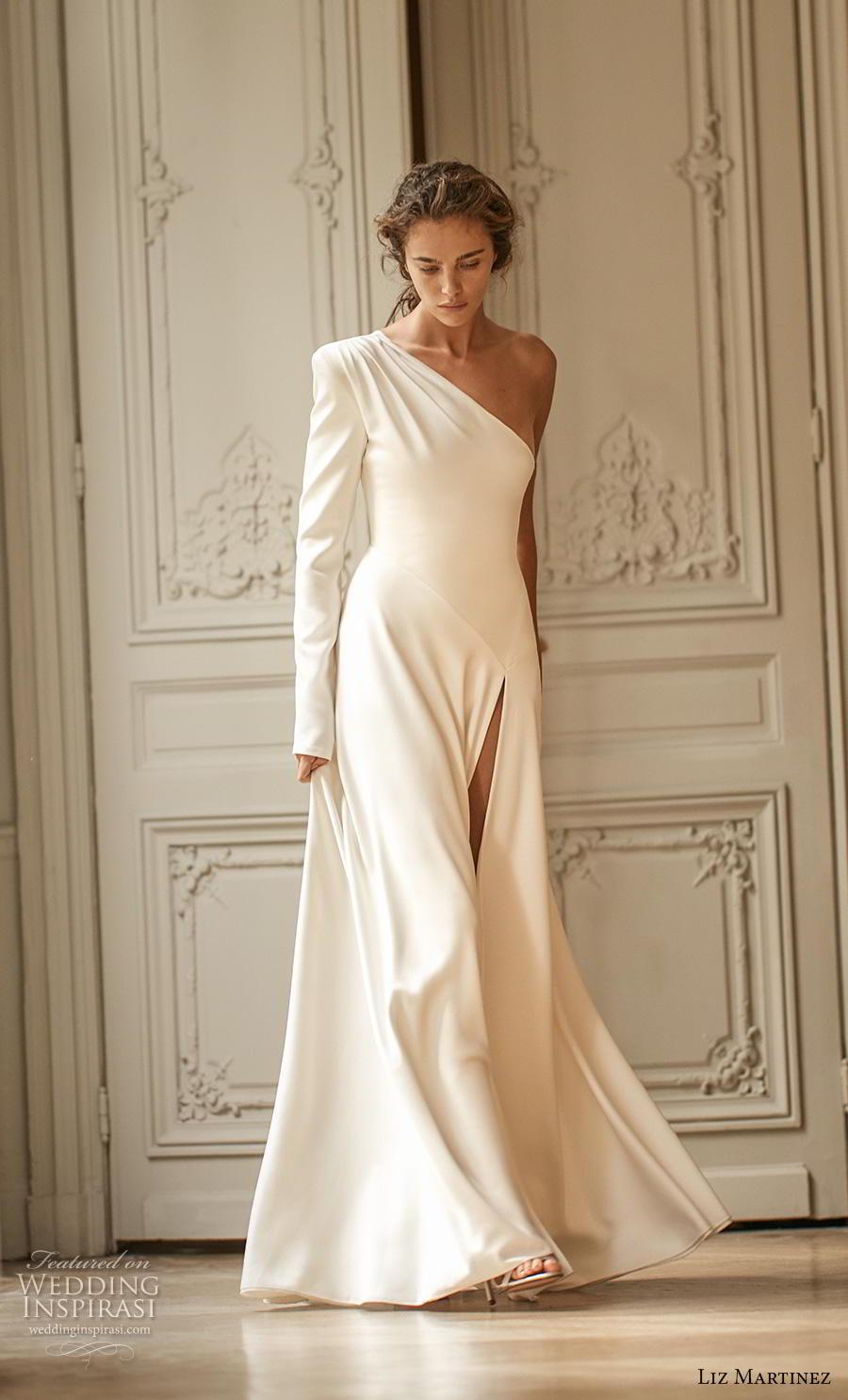liz martinez 2020 bridal long sleeves one shoulder simple minimalist slit skirt elegant classy modified a  line wedding dress sweep train (3) mv