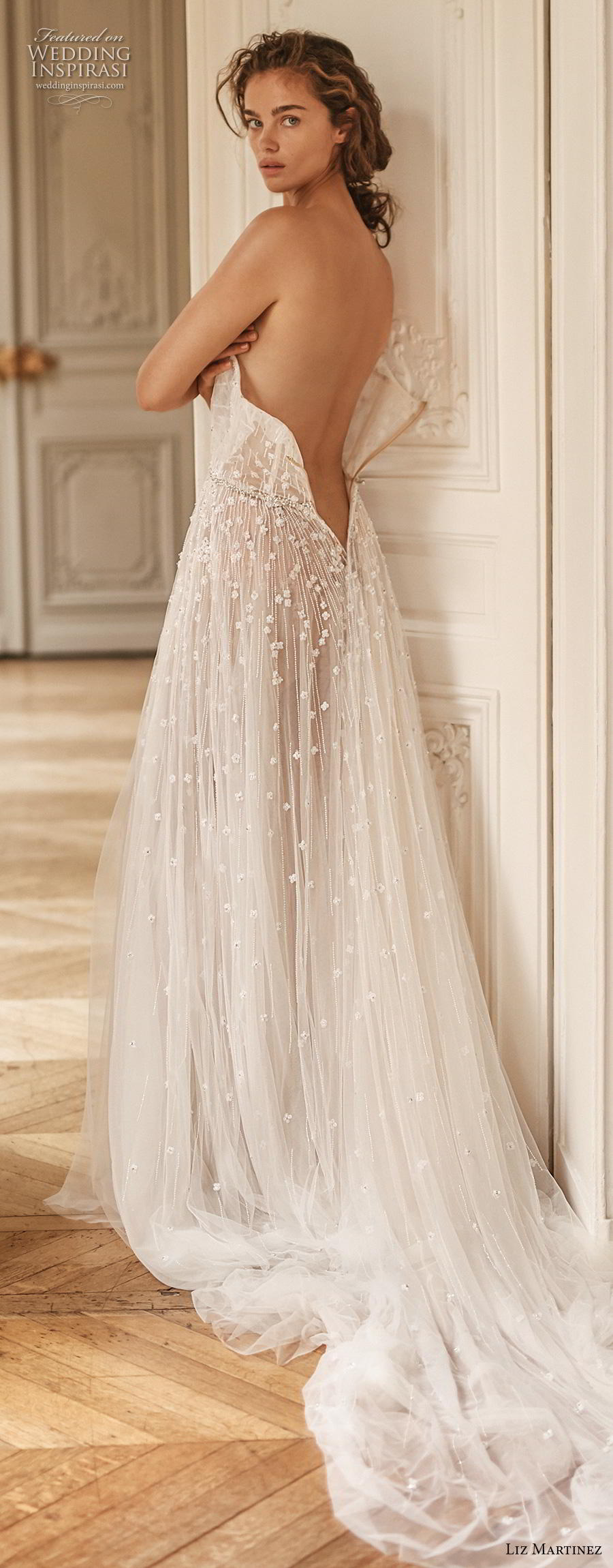 liz martinez 2020 bridal off the shoulder straight across heavily embellished bodice tulle skirt romantic sexy soft a  line wedding dress backless chapel train (1) bv