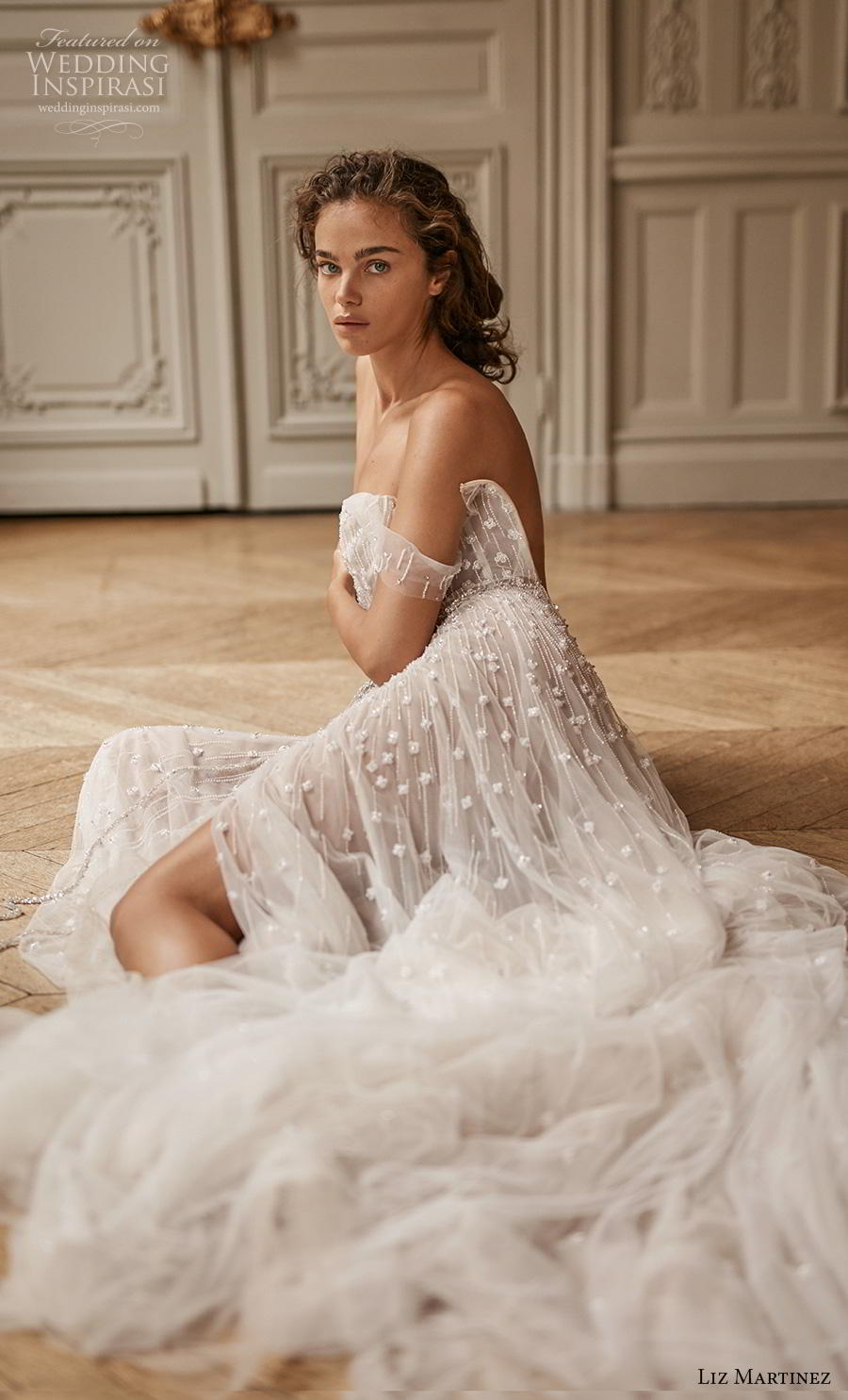 liz martinez 2020 bridal off the shoulder straight across heavily embellished bodice tulle skirt romantic sexy soft a  line wedding dress backless chapel train (1) zv