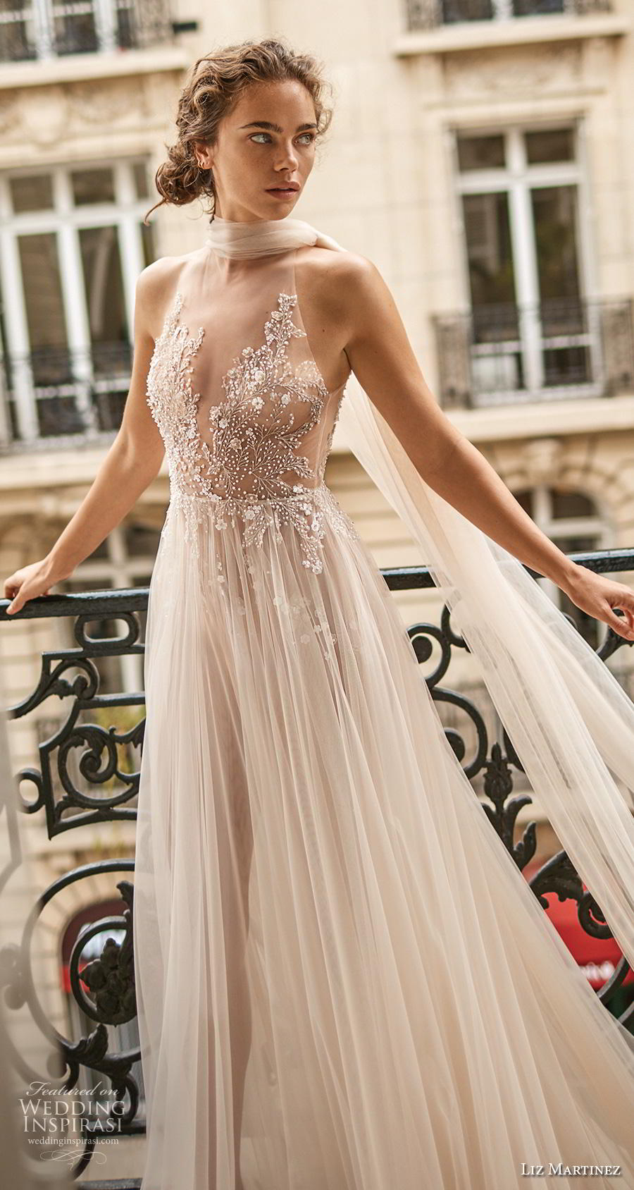 liz martinez 2020 bridal sleeveless illusion halter deep sweetheart neckline heavily embellished bodice romantic glamorous a  line wedding dress keyhole back chapel train (4) zv