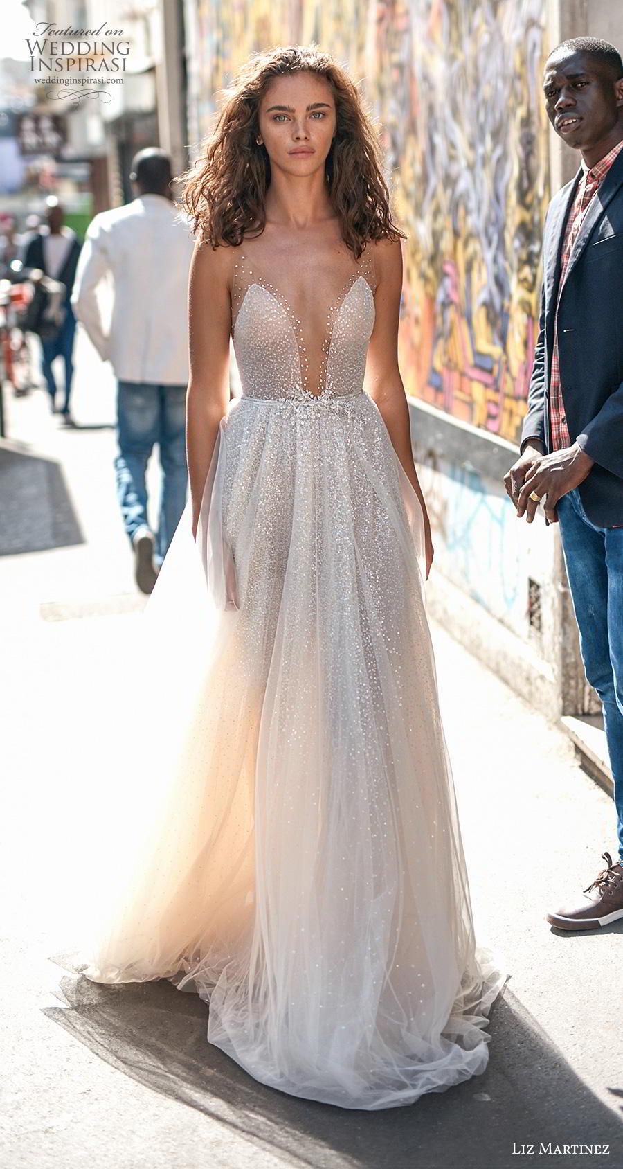 liz martinez 2020 bridal sleeveless sheer strap deep plunging v neck full embellishment glitter glamnorous sexy soft a  line wedding dress (11) mv
