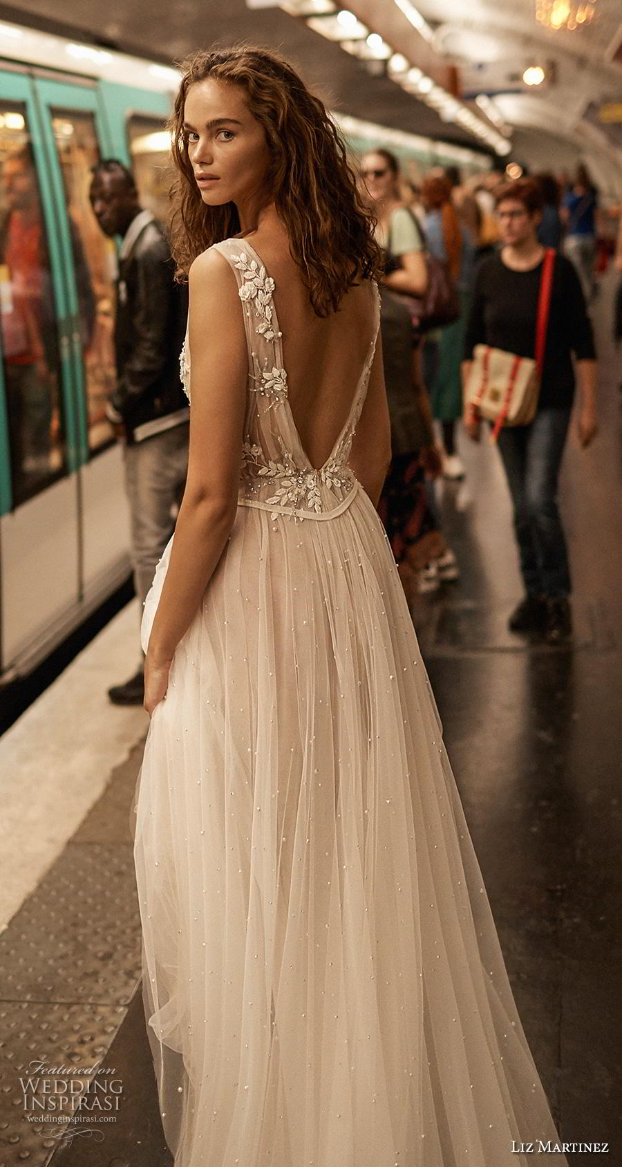liz martinez 2020 bridal sleeveless thick strap deep v neck heavily embellished bodice romantic soft a  line wedding dress backless low v back short train (2) bv