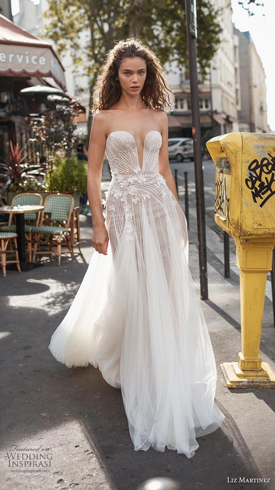 liz martinez 2020 bridal strapless deep plunging sweetheart neckline heavily embellished bodice tulle skirt romantic soft a  line wedding dress sweep train (5) mv
