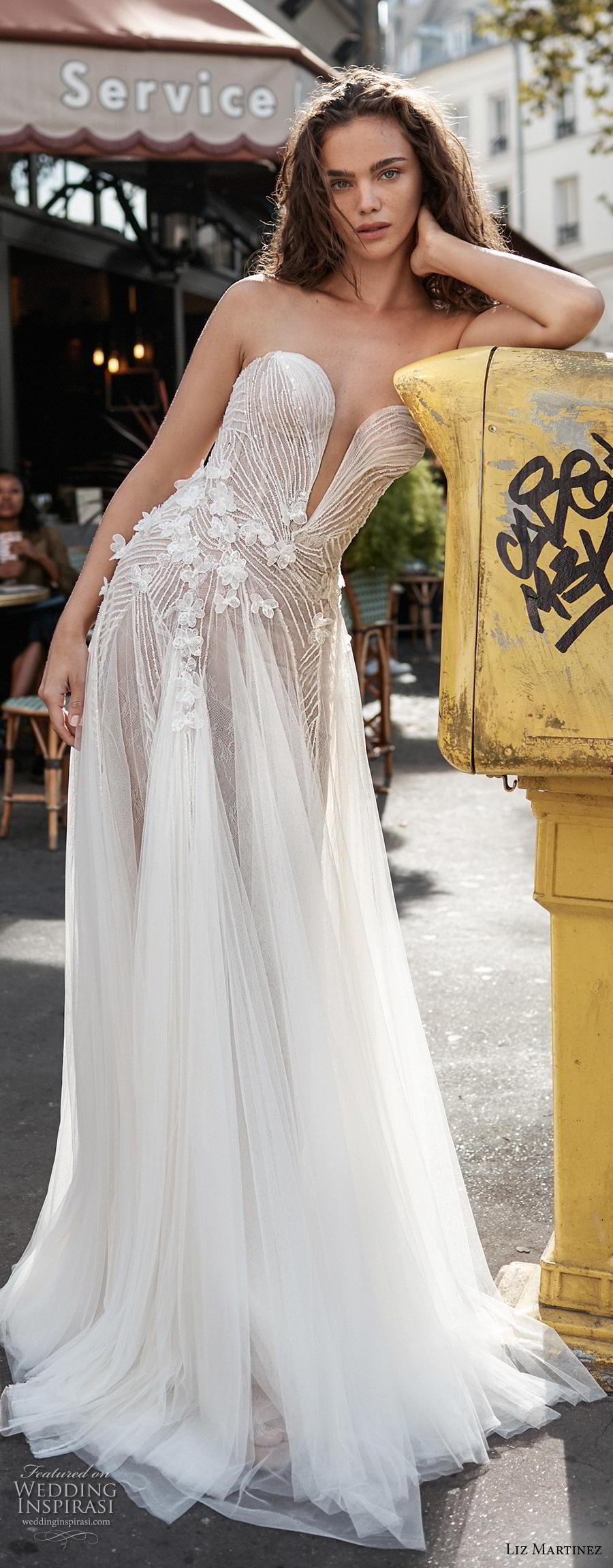 liz martinez 2020 bridal strapless deep plunging sweetheart neckline heavily embellished bodice tulle skirt romantic soft a  line wedding dress sweep train (5) zv