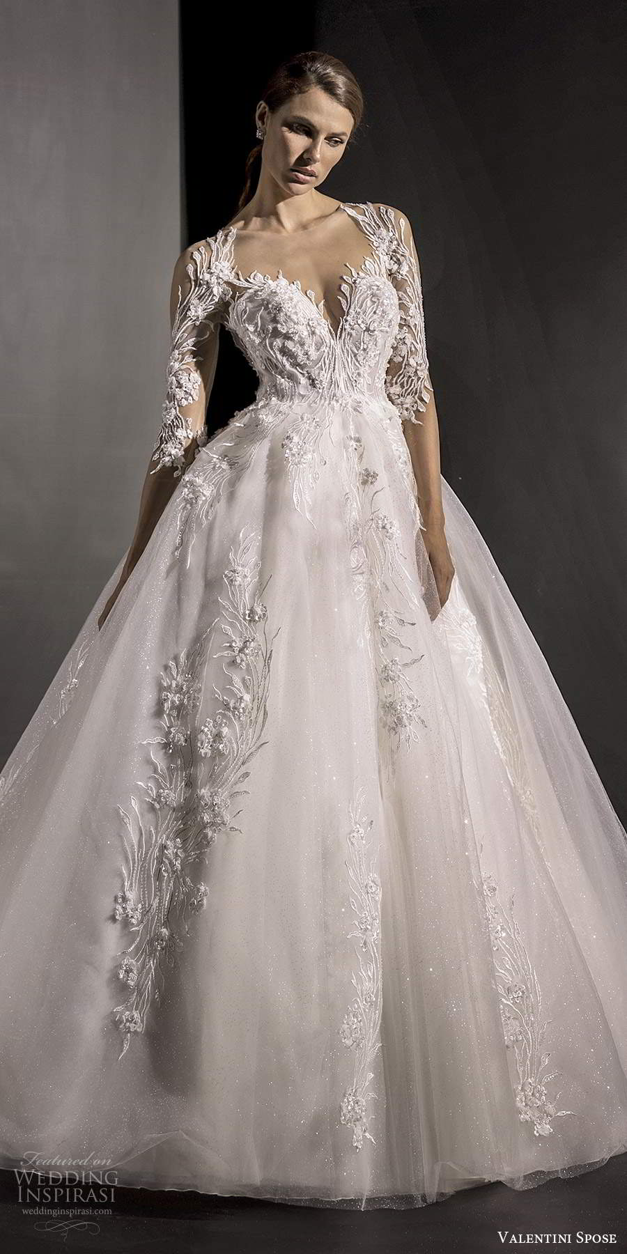 valentini spose fall 2020 bridal illusion 3 quarter sleeves queen anne neckline fully embellished lace a line ball gown wedding dress chapel train (2) mv