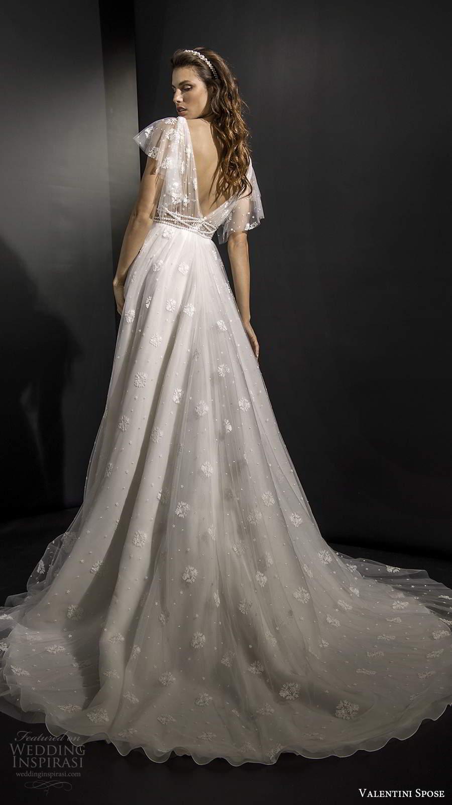 valentini spose fall 2020 bridal illusion flutter sleeves plunging v neckline ruched bodice fully embellished a line ball gown wedding dress v back chapel train  (9) bv