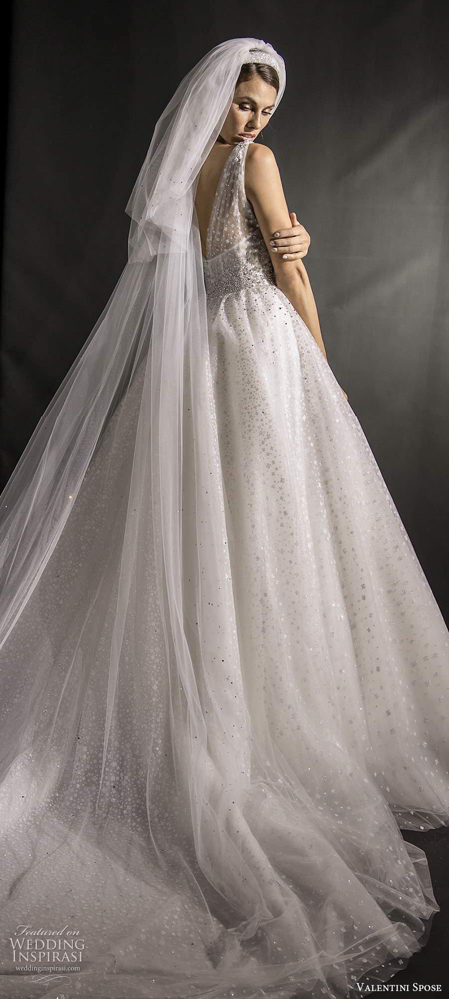 valentini spose fall 2020 bridal sleeveless illusion straps v neckline fully embellished glitzy a line ball gown wedding dress chapel train (1) bv