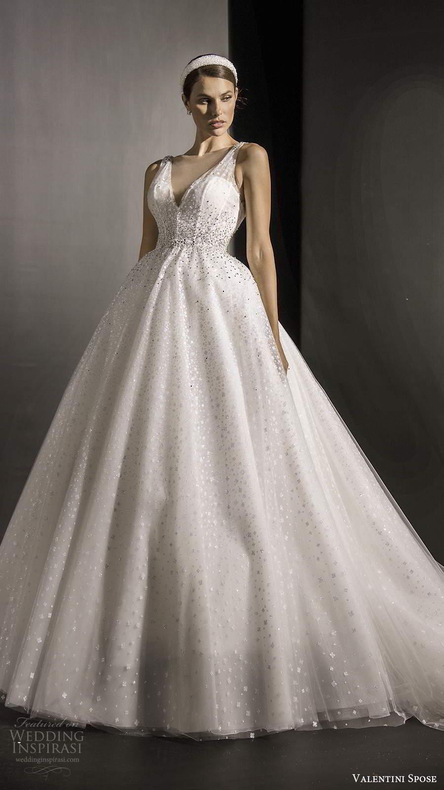 valentini spose fall 2020 bridal sleeveless illusion straps v neckline fully embellished glitzy a line ball gown wedding dress chapel train (1) mv