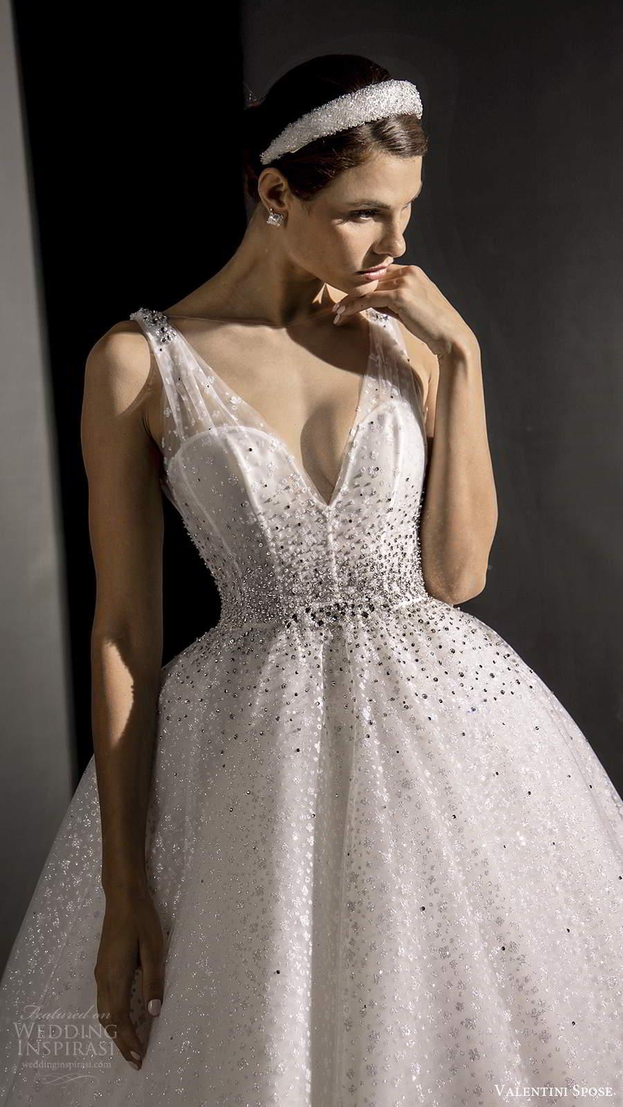 valentini spose fall 2020 bridal sleeveless illusion straps v neckline fully embellished glitzy a line ball gown wedding dress chapel train (1) zv