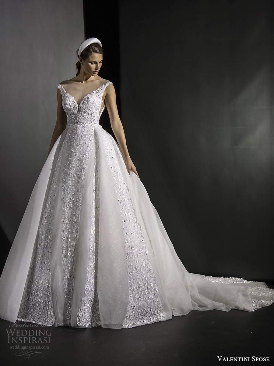 valentini spose fall 2020 bridal sleeveless off shoulder sweetheart neckline fully embellished a line ball gown wedding dress chapel train (5) mv