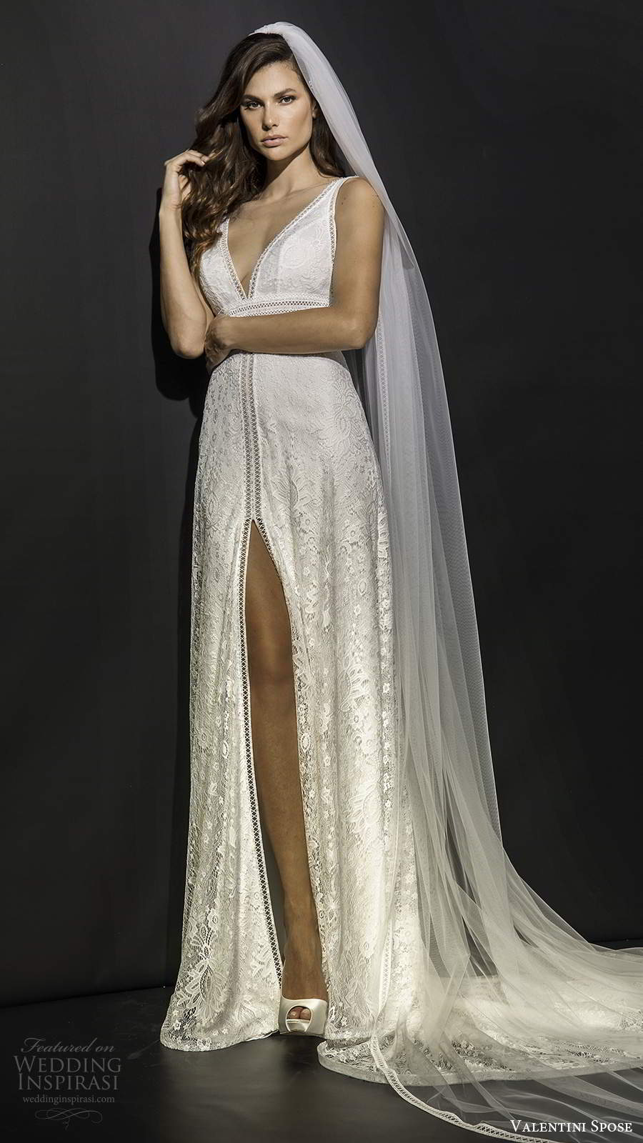 valentini spose fall 2020 bridal sleeveless plunging v neckline fully embellished lace column soft a line lace wedding dress slit skirt chapel train (8) mv