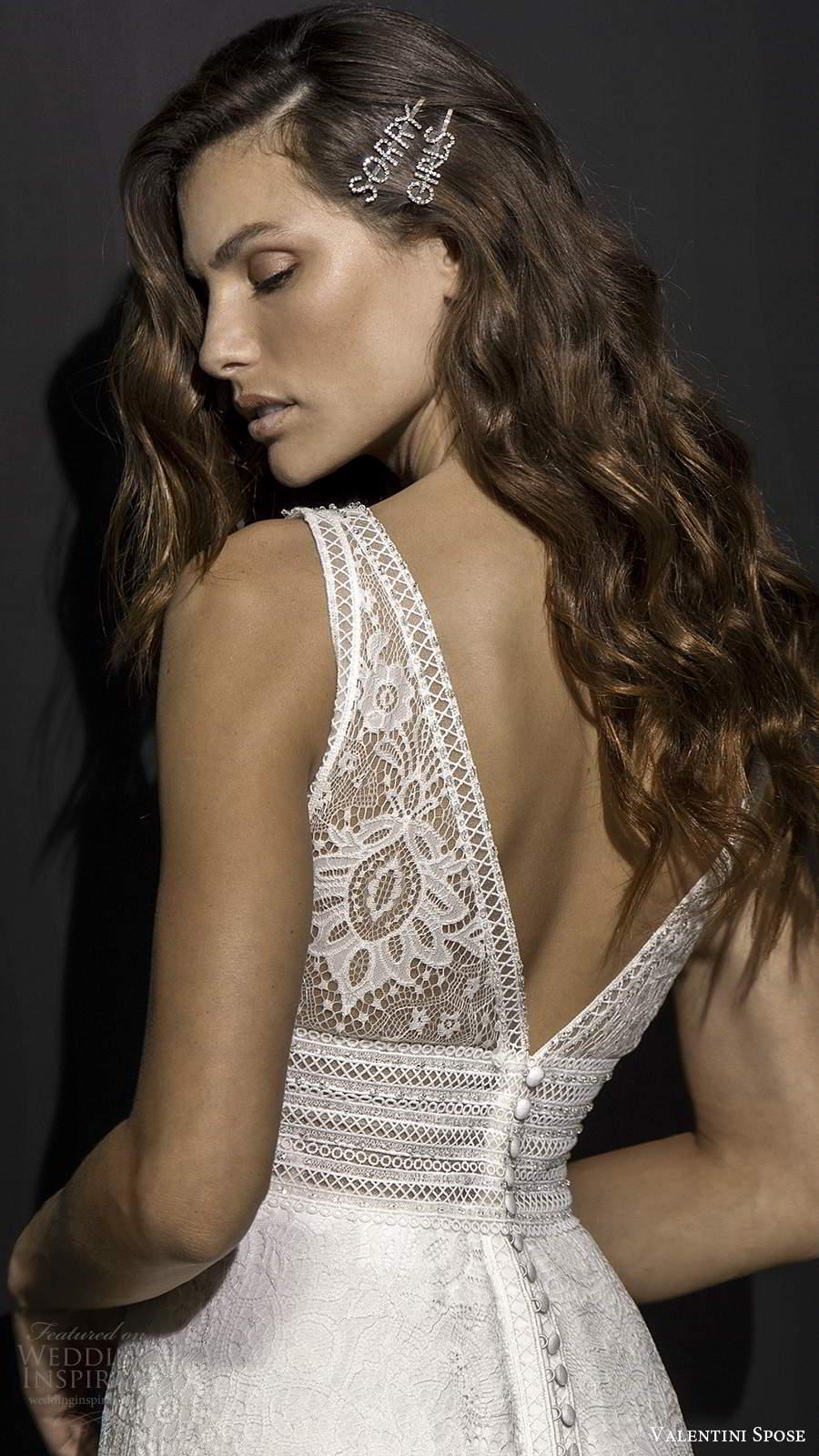 valentini spose fall 2020 bridal sleeveless plunging v neckline fully embellished lace column soft a line lace wedding dress slit skirt v back chapel train (8) zbv