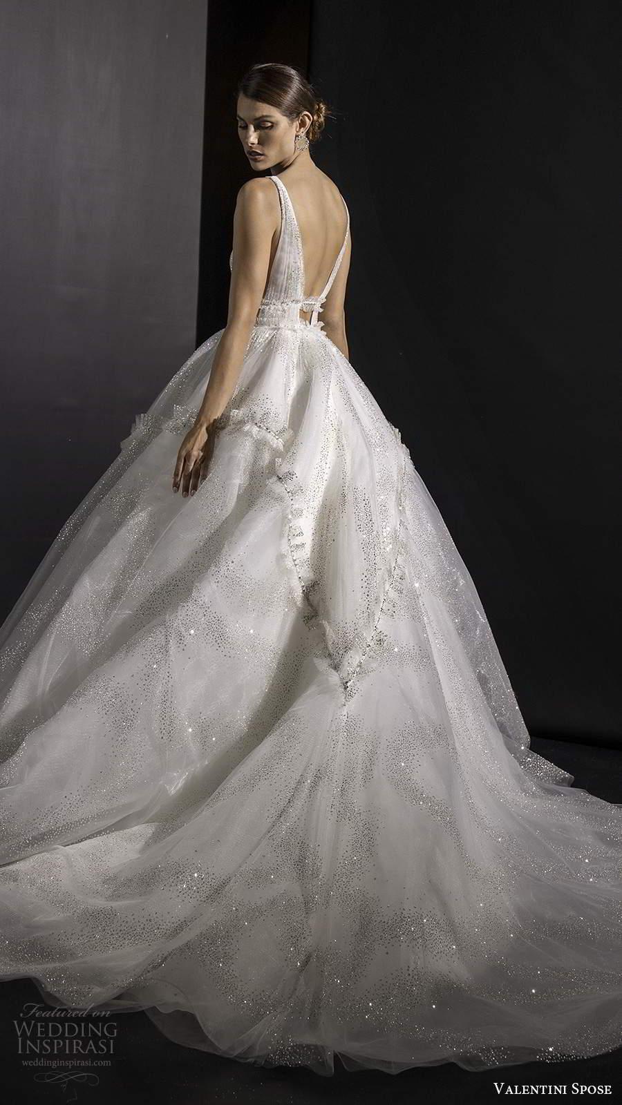 valentini spose fall 2020 bridal sleeveless straps plunging v neckline ruched bodice fully embellished glitzy a line ball gown wedding dress v back chapel train (8) bv