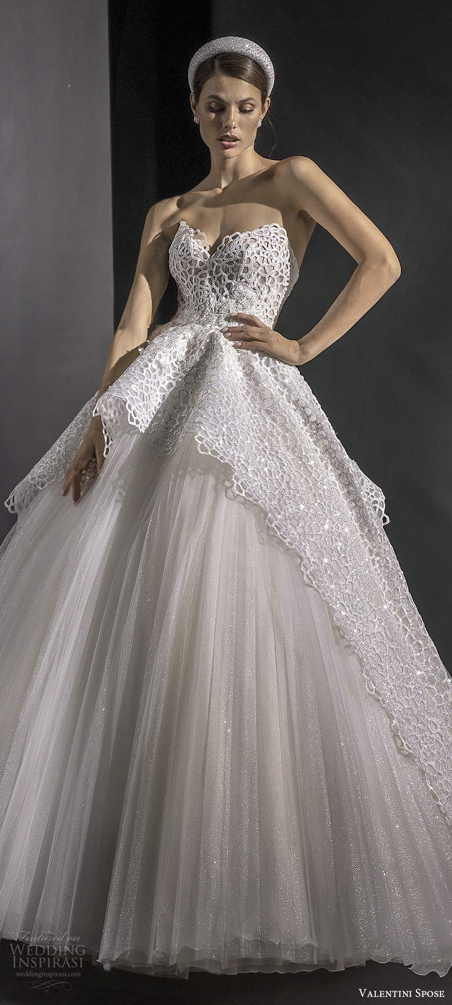 valentini spose fall 2020 bridal strapless sweetheart embellished bodice a line ball gown wedding dress overskirt chapel train (4) mv