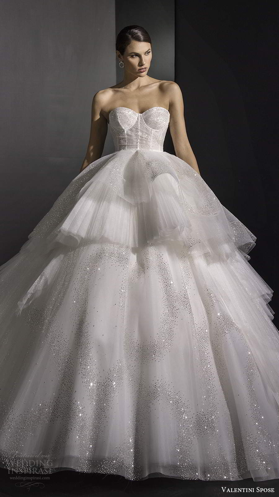 valentini spose fall 2020 bridal strapless sweetheart neckline sheer corset bodice fully embellished glitzy a line ball gown wedding dress chapel train (10) mv