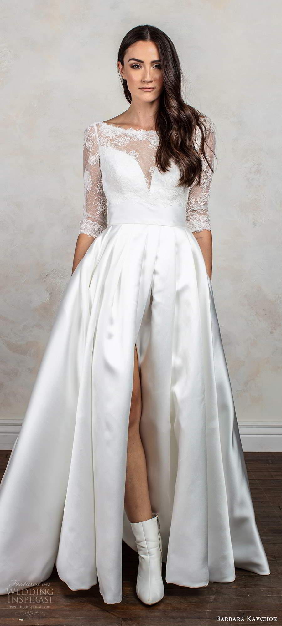 barbara kavchok fall 2020 bridal illusion 3 quarter sleeves bateau neck sweetheart neckline clean slit skirt a line ball gown wedding dress chapel train (11) mv