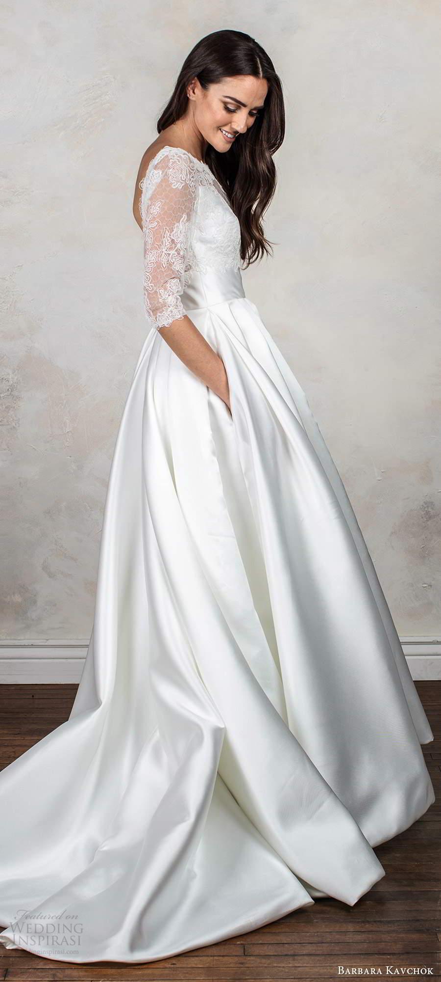 barbara kavchok fall 2020 bridal illusion 3 quarter sleeves bateau neck sweetheart neckline clean slit skirt a line ball gown wedding dress chapel train (11) sv