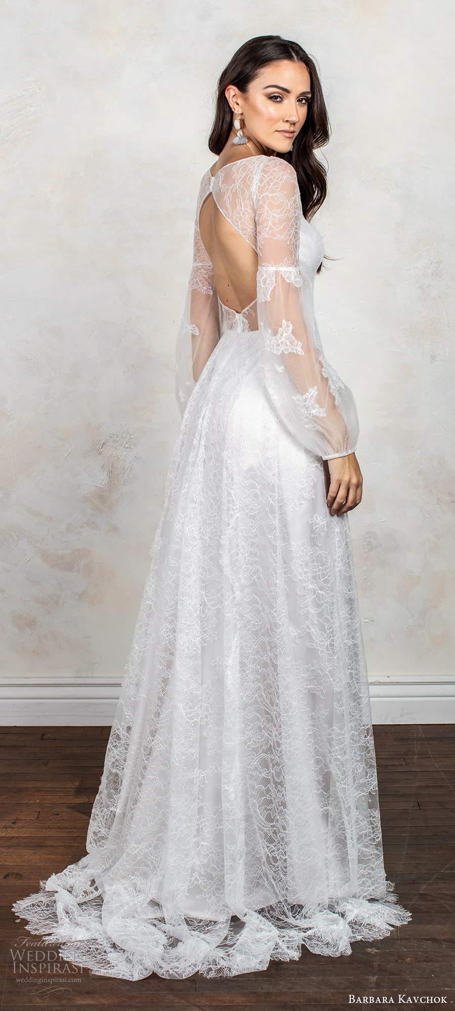 barbara kavchok fall 2020 bridal illusion long poet sleeves v neckline embellished lace bodice a line ball gown wedding dress keyhole back chapel train (10) bv