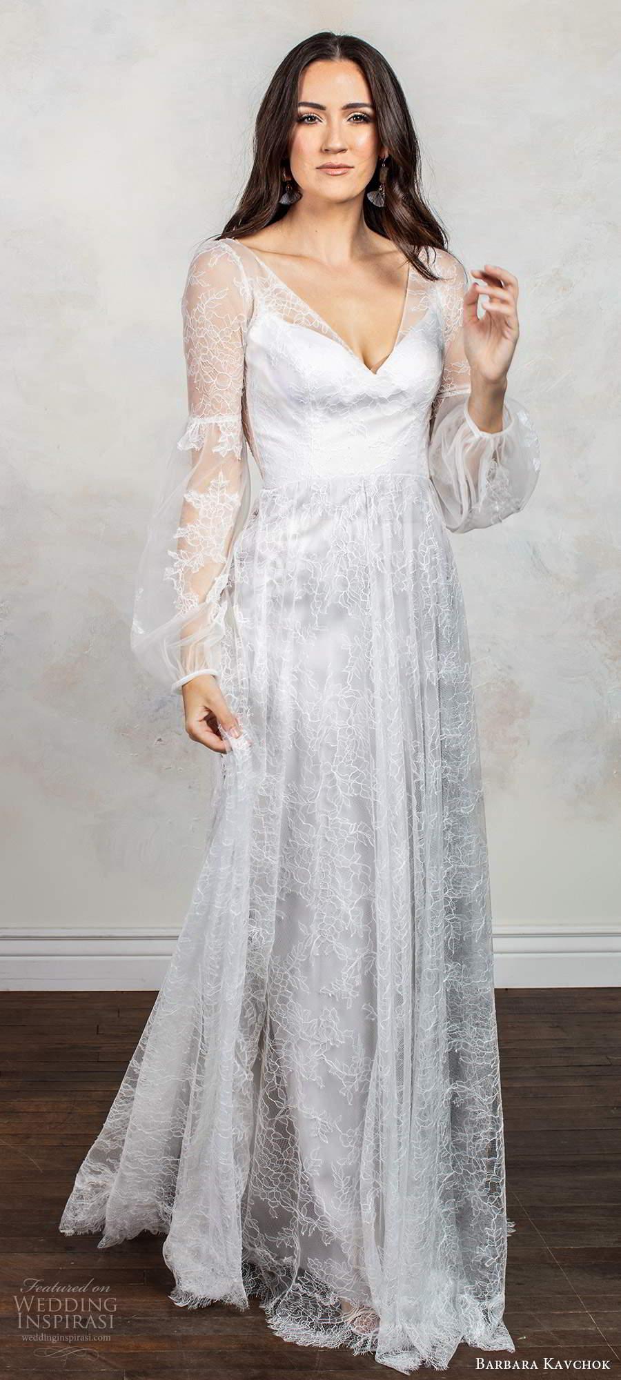 barbara kavchok fall 2020 bridal illusion long poet sleeves v neckline embellished lace bodice a line ball gown wedding dress keyhole back chapel train (10) mv