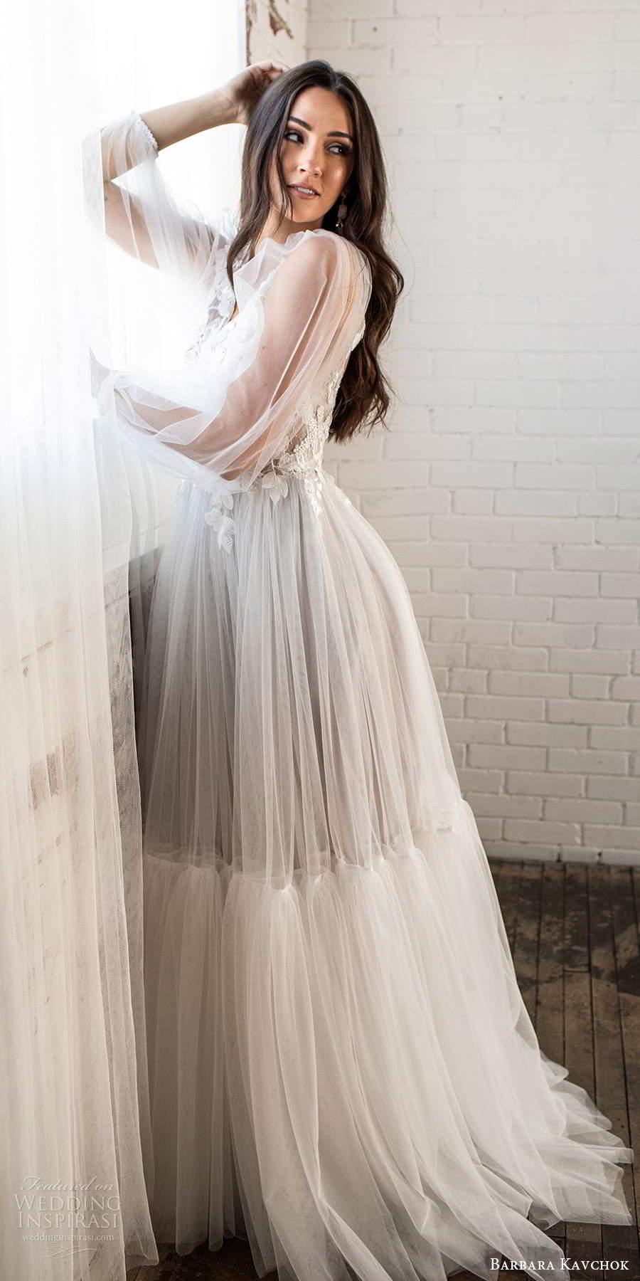 barbara kavchok fall 2020 bridal illusion long poet sleeves v neckline embellished lace bodice a line ball gown wedding dress keyhole back chapel train (10) sv