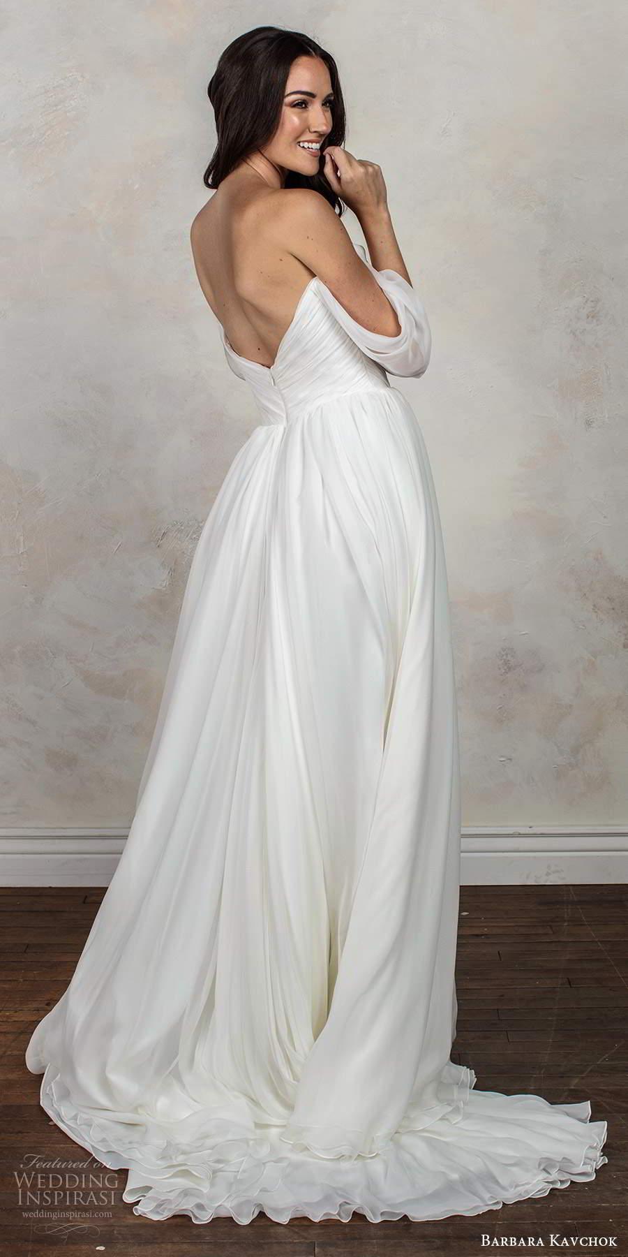 barbara kavchok fall 2020 bridal off shoulder draped sleeves sweetheart neckline ruched bodice clean a line ball gown wedding dress v back chapel train (7) bv