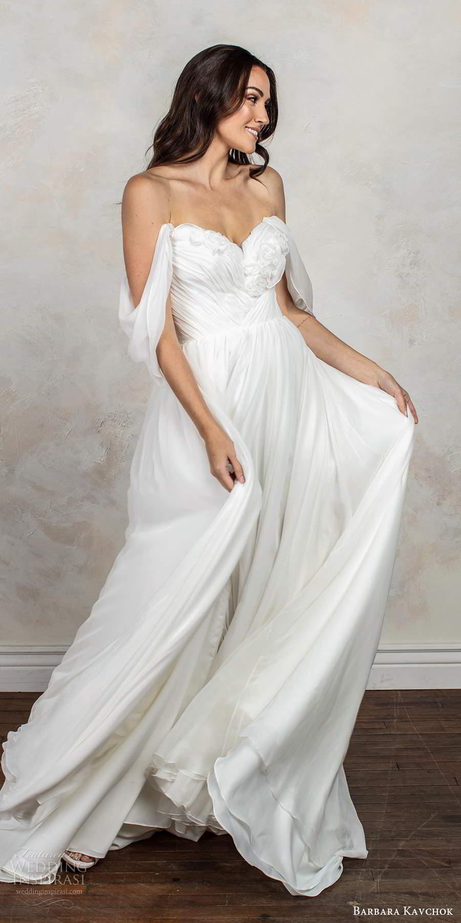 barbara kavchok fall 2020 bridal off shoulder draped sleeves sweetheart neckline ruched bodice clean a line ball gown wedding dress v back chapel train (7) mv