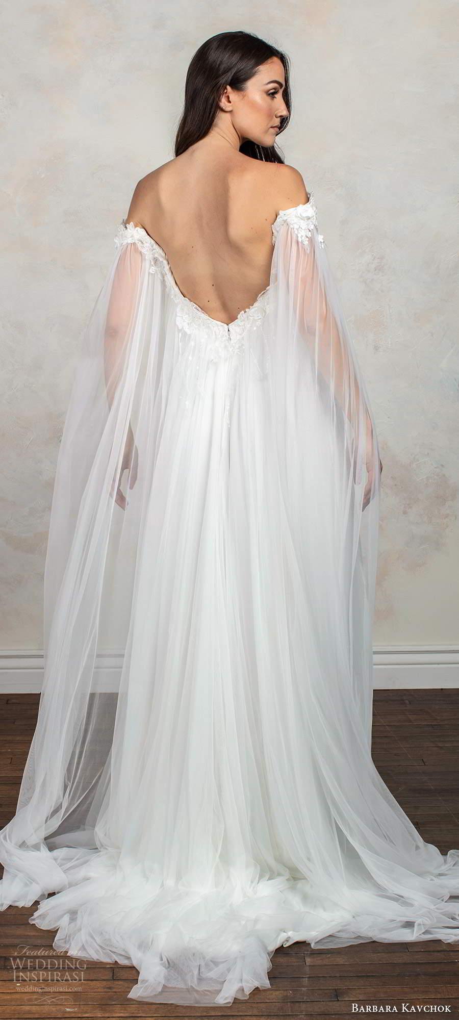 barbara kavchok fall 2020 bridal off shoulder long split sleeves sweetheart neckline embellished bodice slit skirt a line ball gown wedding dress chapel train (5) bv