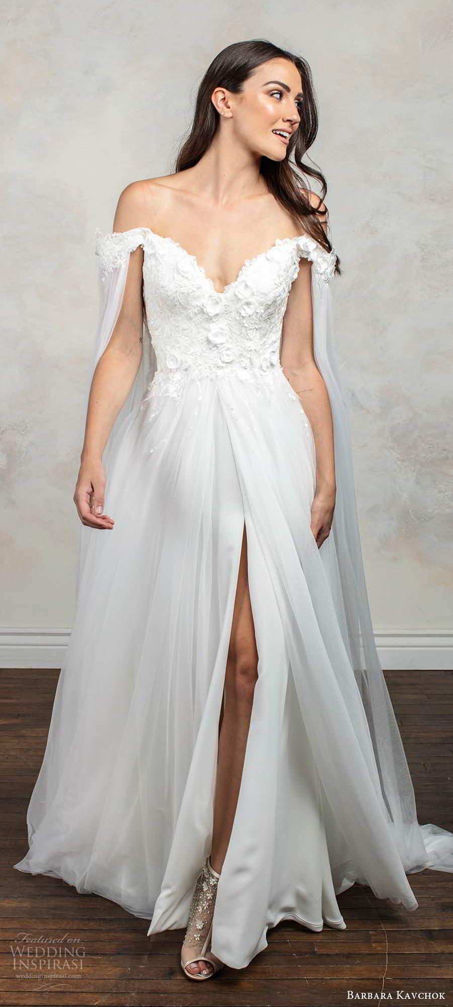 barbara kavchok fall 2020 bridal off shoulder long split sleeves sweetheart neckline embellished bodice slit skirt a line ball gown wedding dress chapel train (5) mv