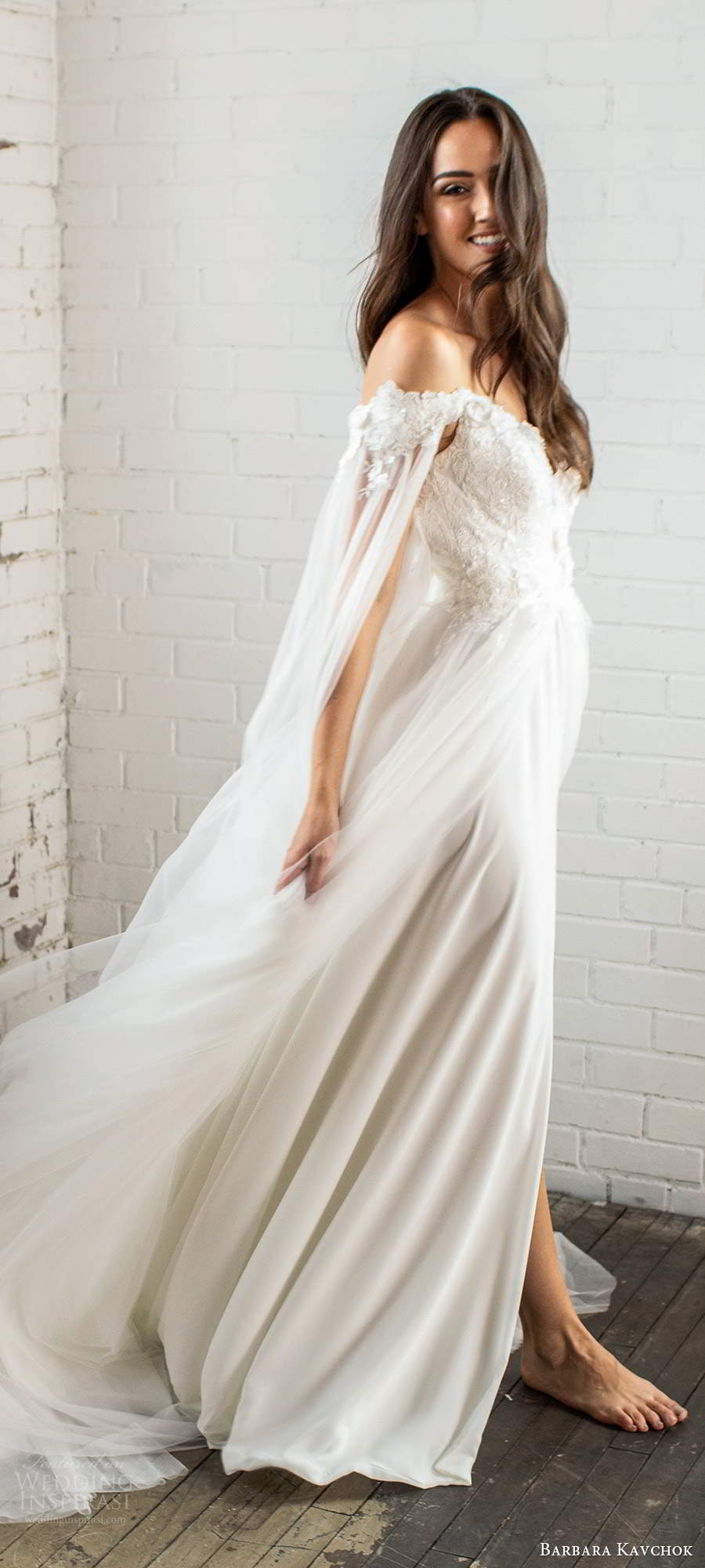 barbara kavchok fall 2020 bridal off shoulder long split sleeves sweetheart neckline embellished bodice slit skirt a line ball gown wedding dress chapel train (5) sv