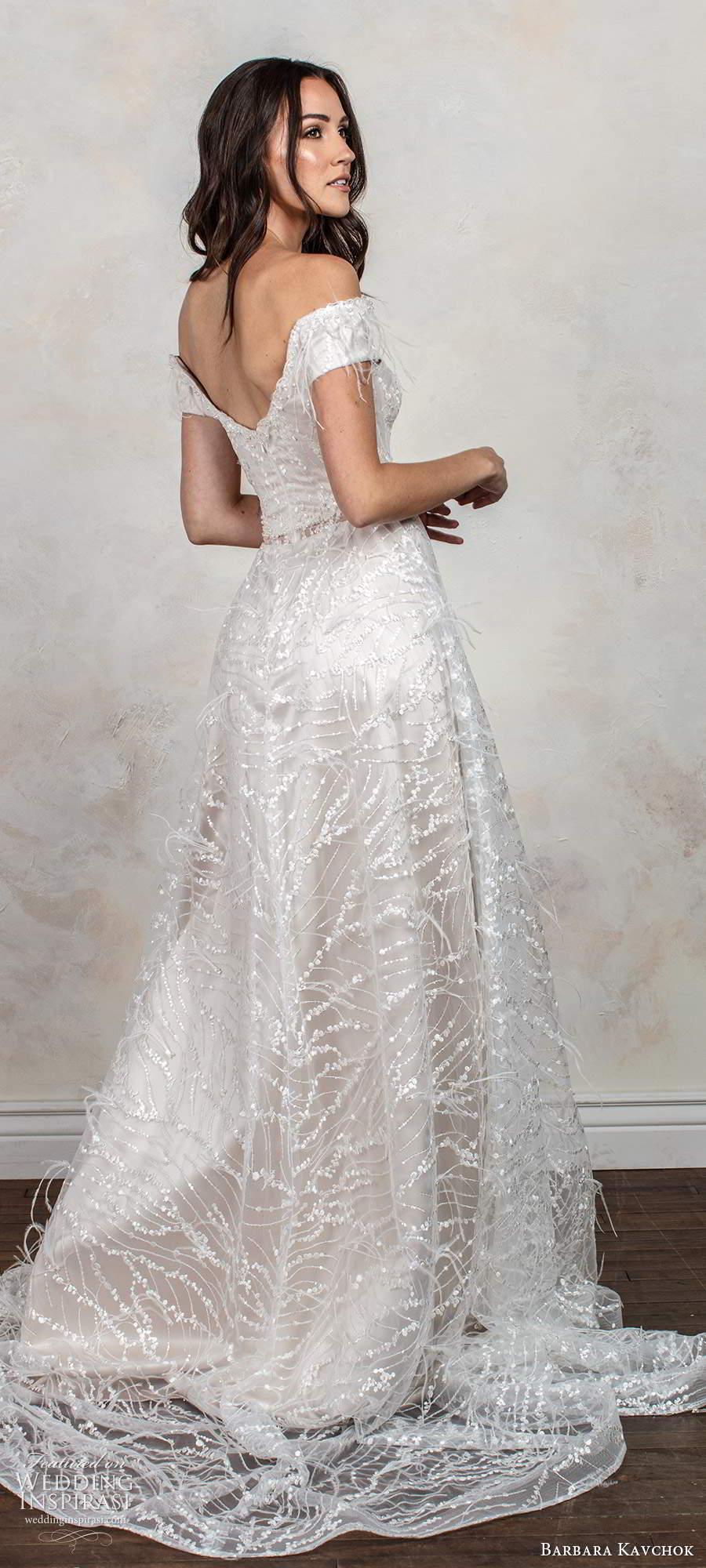 barbara kavchok fall 2020 bridal off shoulder short sleeves semi sweetheart neckline fully embellished a line ball gown blush wedding dress chapel train (8) bv
