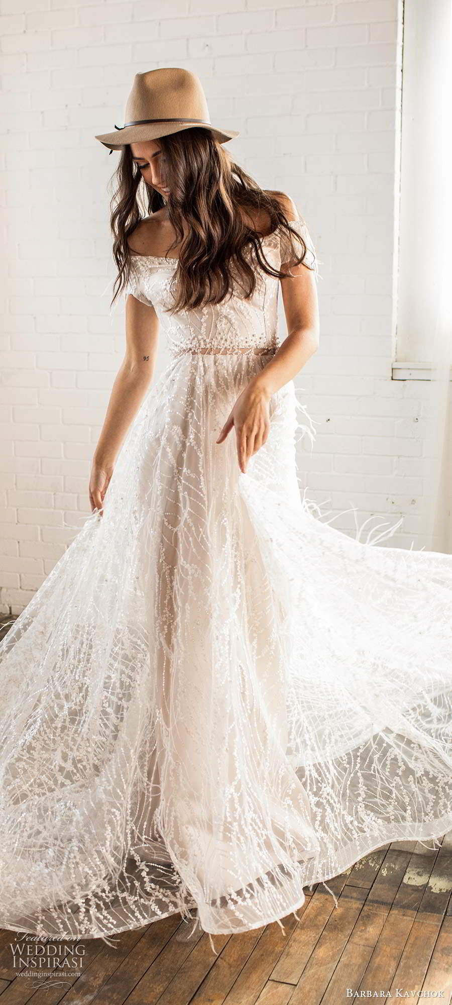 barbara kavchok fall 2020 bridal off shoulder short sleeves semi sweetheart neckline fully embellished a line ball gown blush wedding dress chapel train (8) mv
