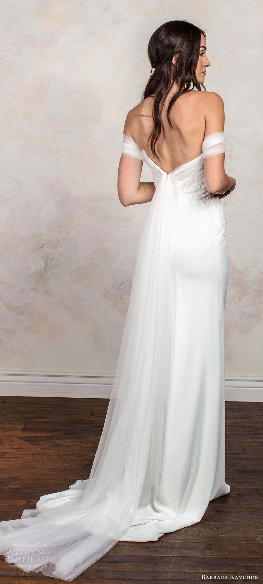 barbara kavchok fall 2020 bridal off shoulder straps straight across neckline ruched embellished bodice sheath column wedding dress chapel train (13) bv