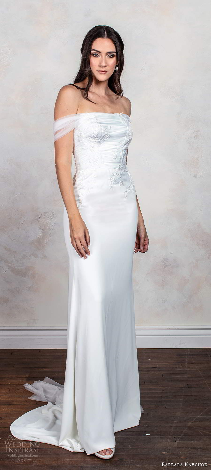 barbara kavchok fall 2020 bridal off shoulder straps straight across neckline ruched embellished bodice sheath column wedding dress chapel train (13) fv