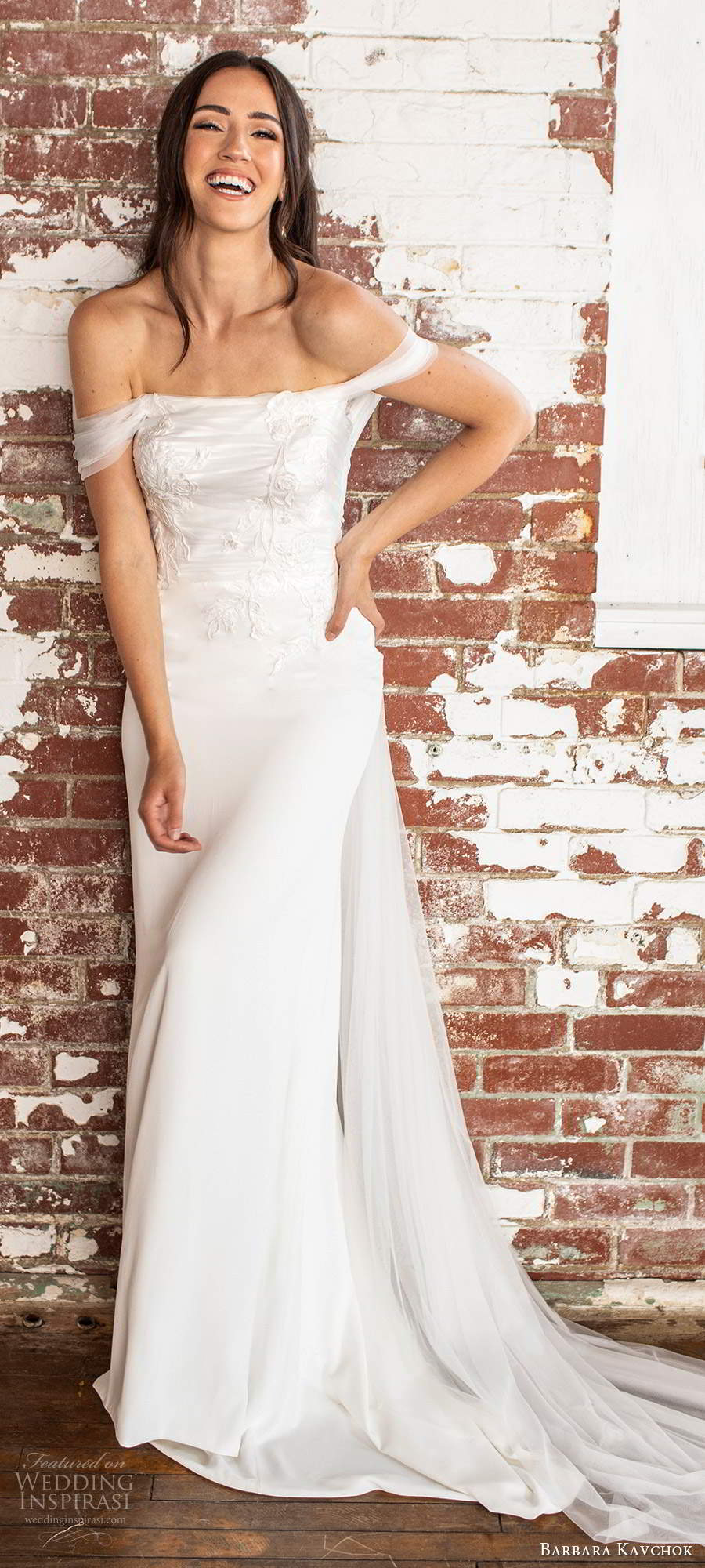 barbara kavchok fall 2020 bridal off shoulder straps straight across neckline ruched embellished bodice sheath column wedding dress chapel train (13) mv