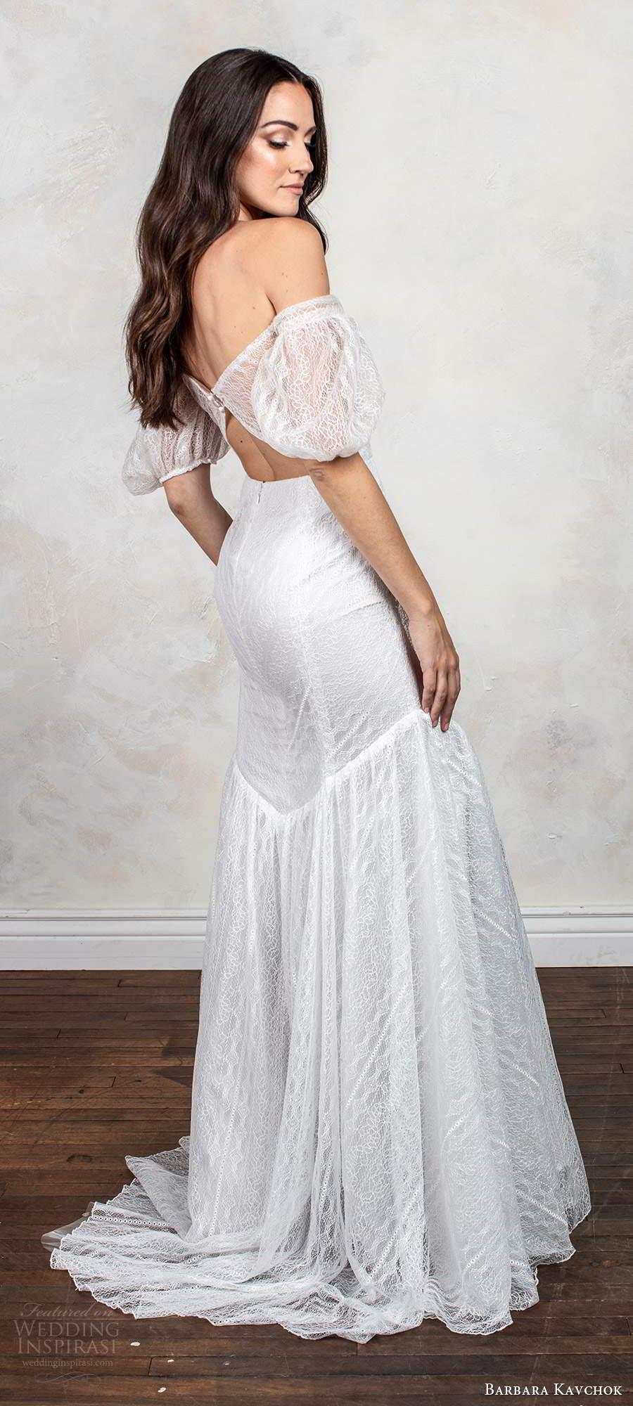 barbara kavchok fall 2020 bridal short puff sleeves off shoulder semi sweetheart neckline embellish fit flare mermaid wedding dress chapel train (12) bv
