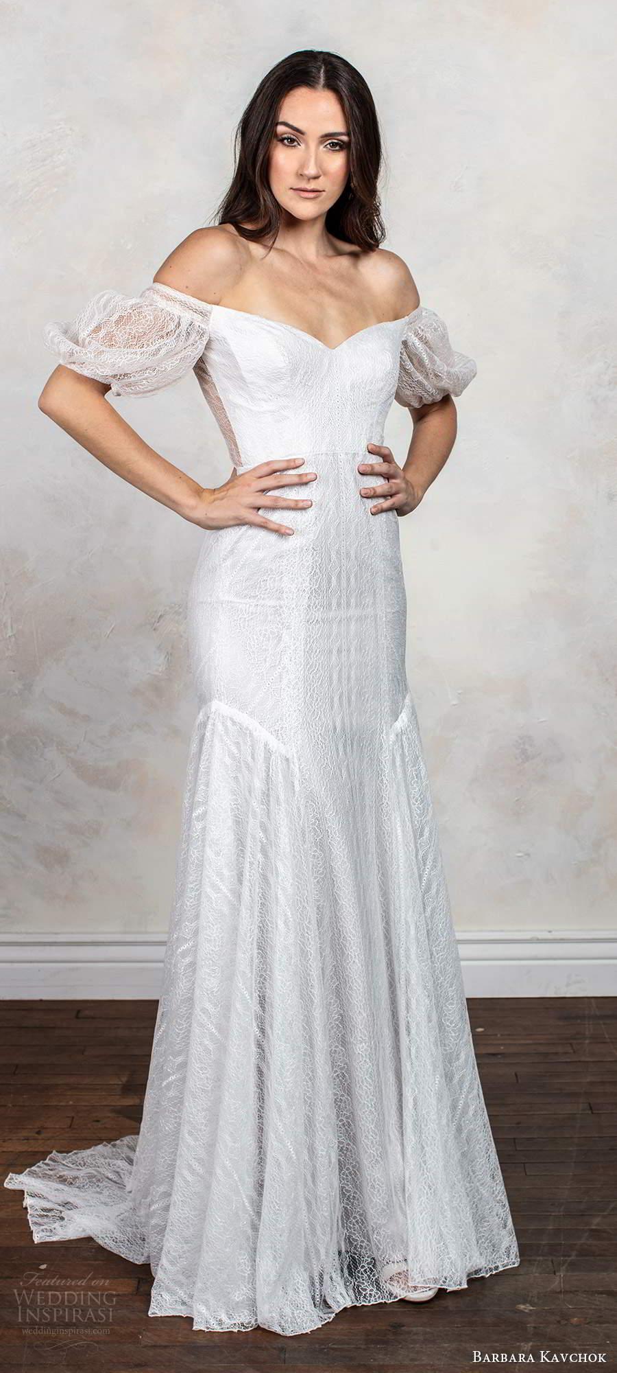 barbara kavchok fall 2020 bridal short puff sleeves off shoulder semi sweetheart neckline embellish fit flare mermaid wedding dress chapel train (12) mv