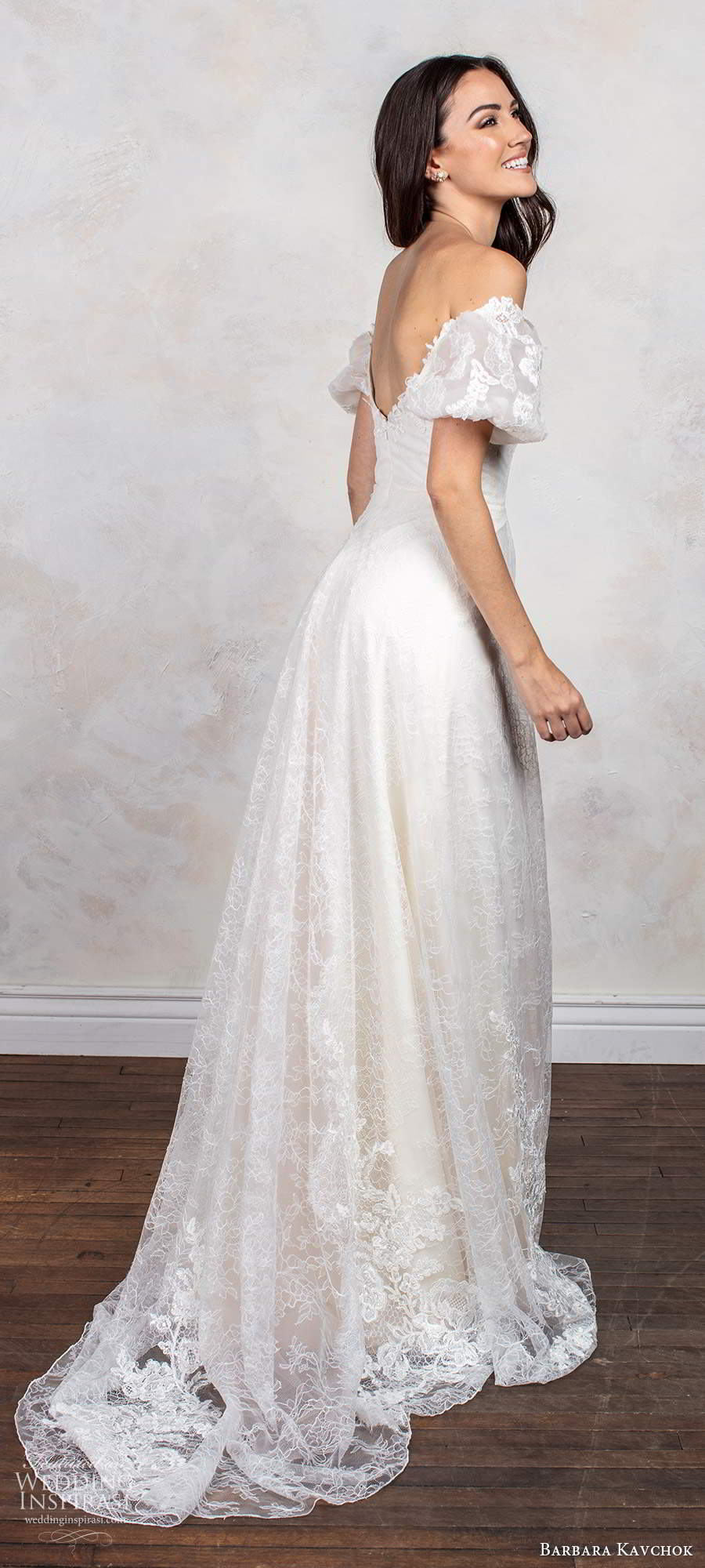 barbara kavchok fall 2020 bridal short puff sleeves off shoulder sweetheart neckline fully embellished lace a line ball gown wedding dress scoop back chapel train (1) bv