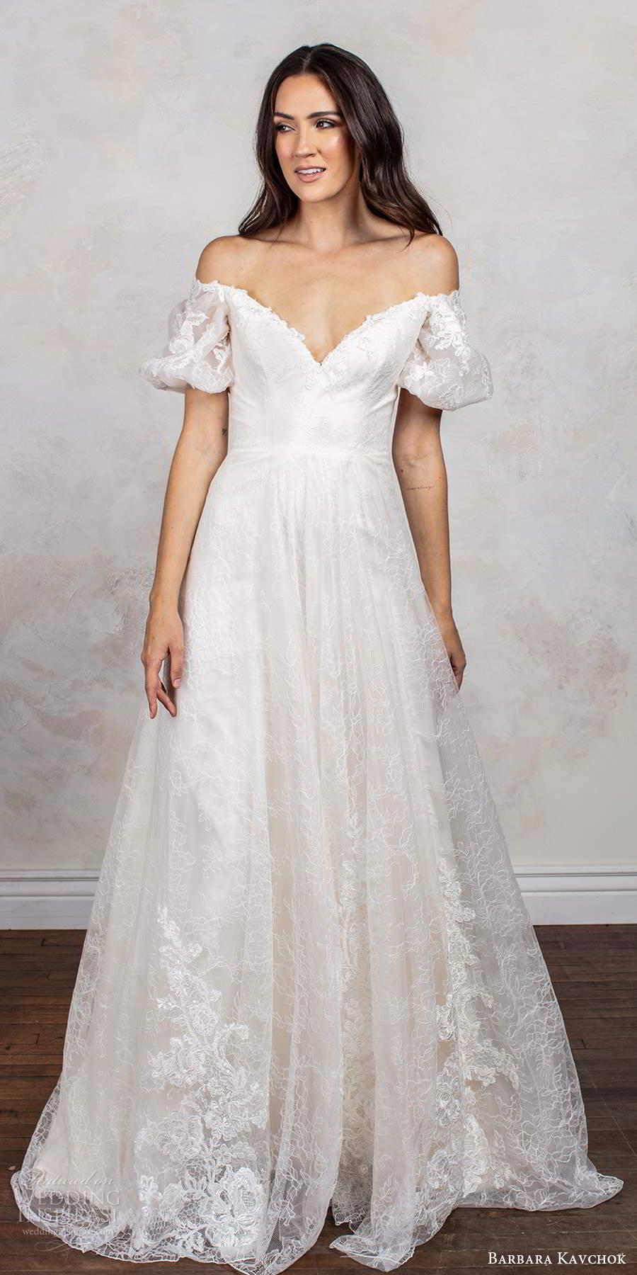 barbara kavchok fall 2020 bridal short puff sleeves off shoulder sweetheart neckline fully embellished lace a line ball gown wedding dress scoop back chapel train (1) mv