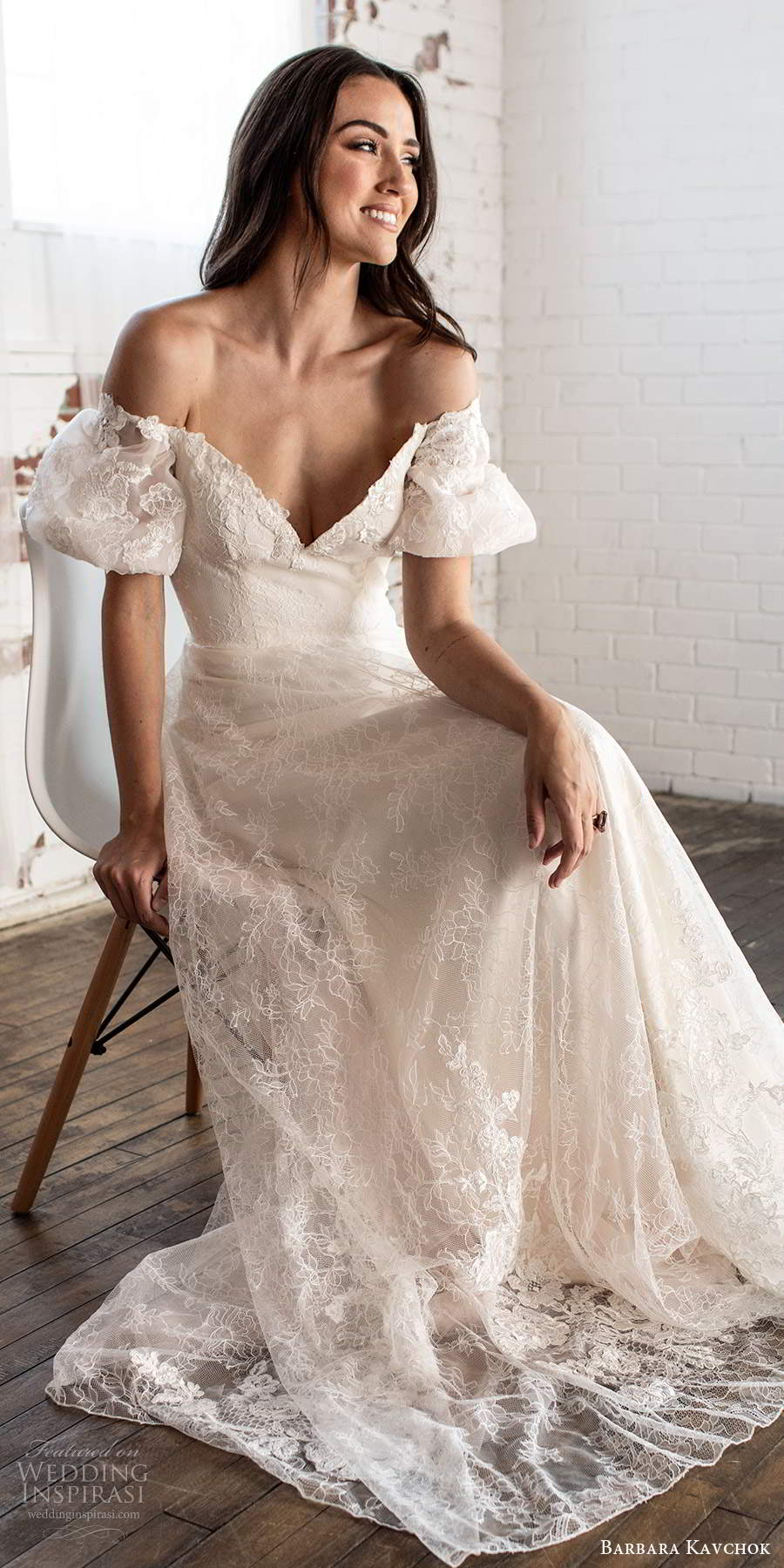 barbara kavchok fall 2020 bridal short puff sleeves off shoulder sweetheart neckline fully embellished lace a line ball gown wedding dress scoop back chapel train (1) zv