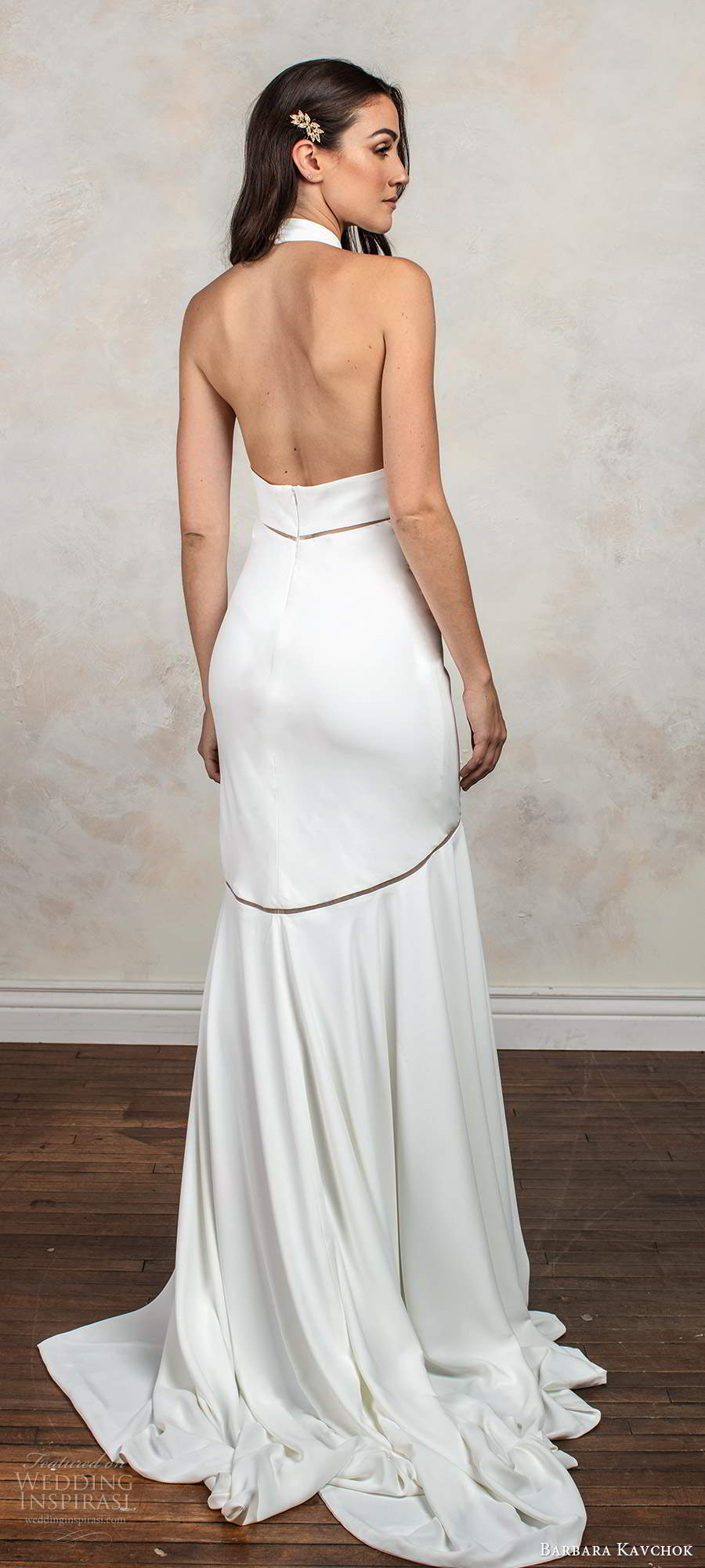 barbara kavchok fall 2020 bridal sleeveless halter neckline clean minimally embellished fit flare mermaid wedding dress chapel train (9) bv