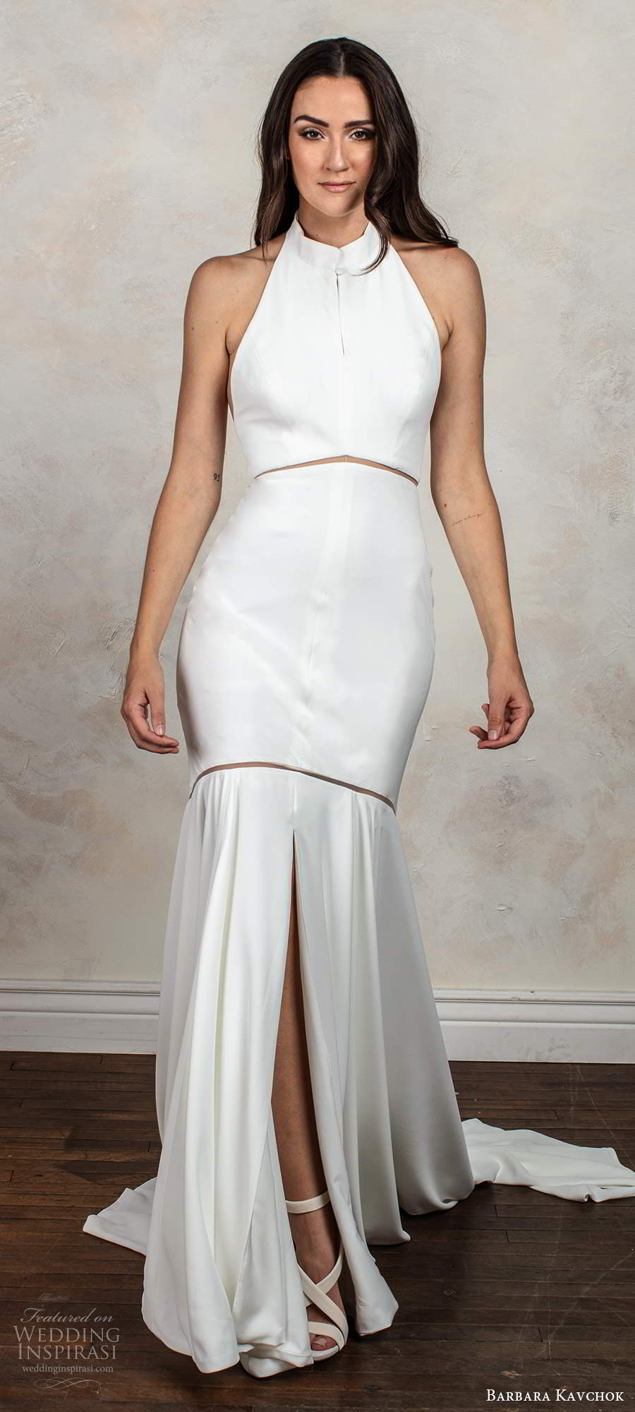 barbara kavchok fall 2020 bridal sleeveless halter neckline clean minimally embellished fit flare mermaid wedding dress chapel train (9) mv