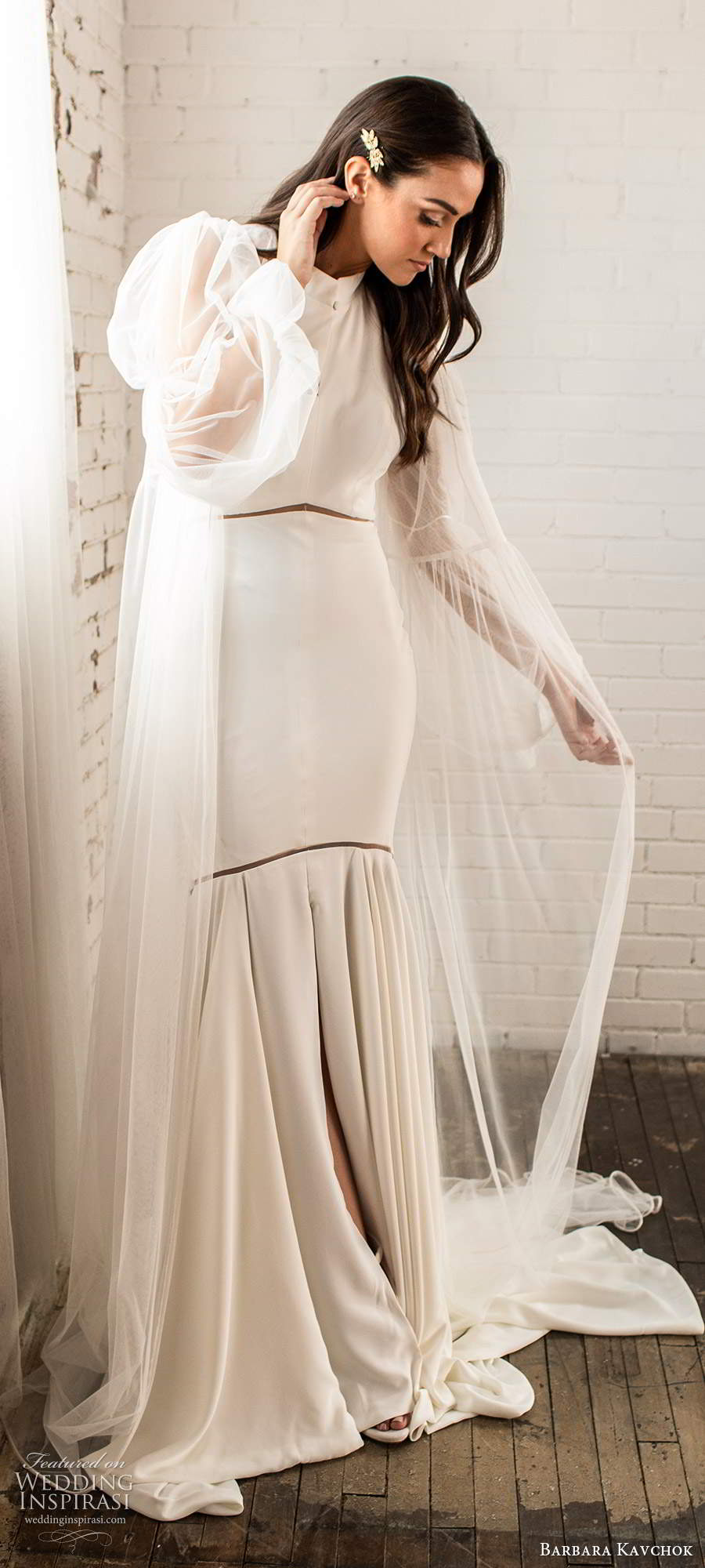 barbara kavchok fall 2020 bridal sleeveless halter neckline clean minimally embellished fit flare mermaid wedding dress chapel train long sleeve robe (9) mv
