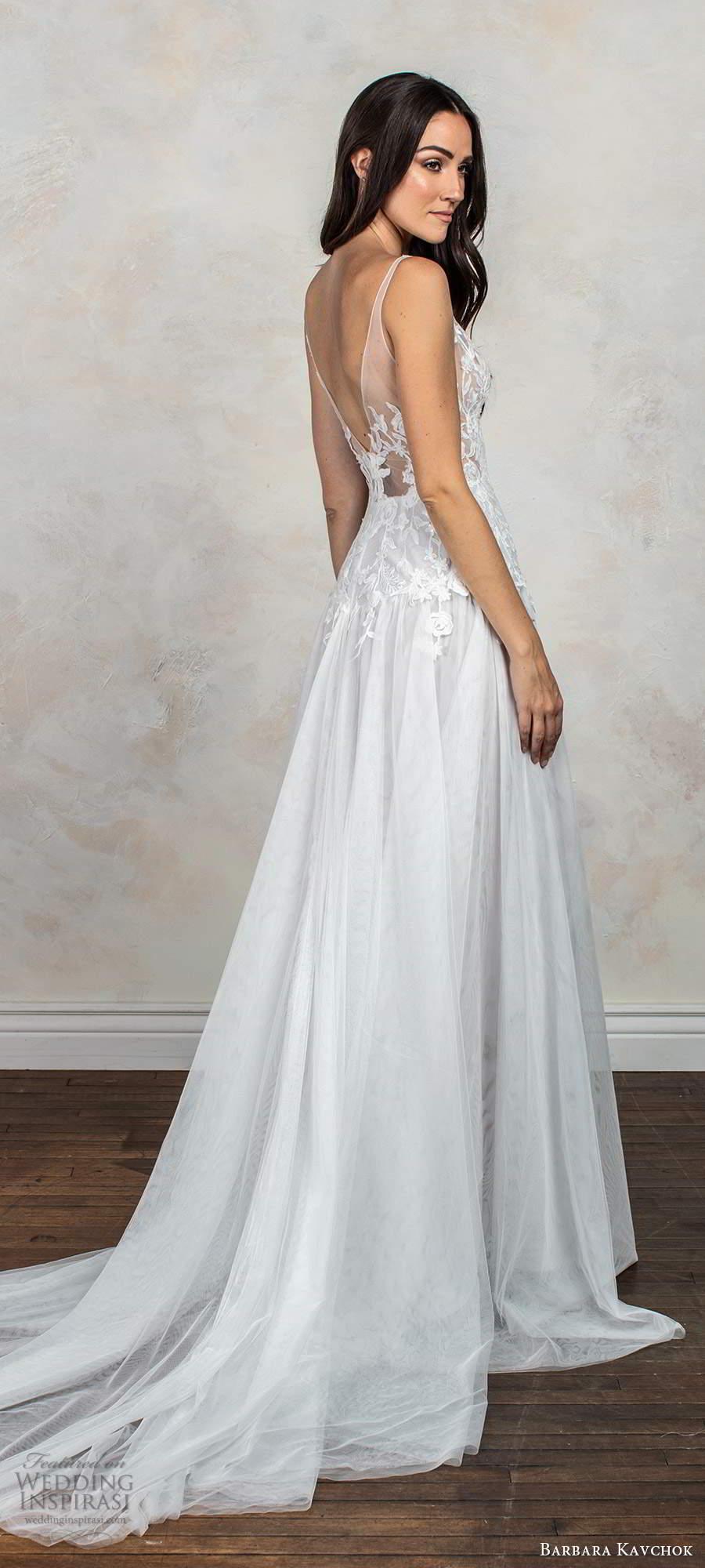 barbara kavchok fall 2020 bridal sleeveless illusion straps v neckline embellished sheer bodice a line ball gown wedding dress chapel train (6) bv