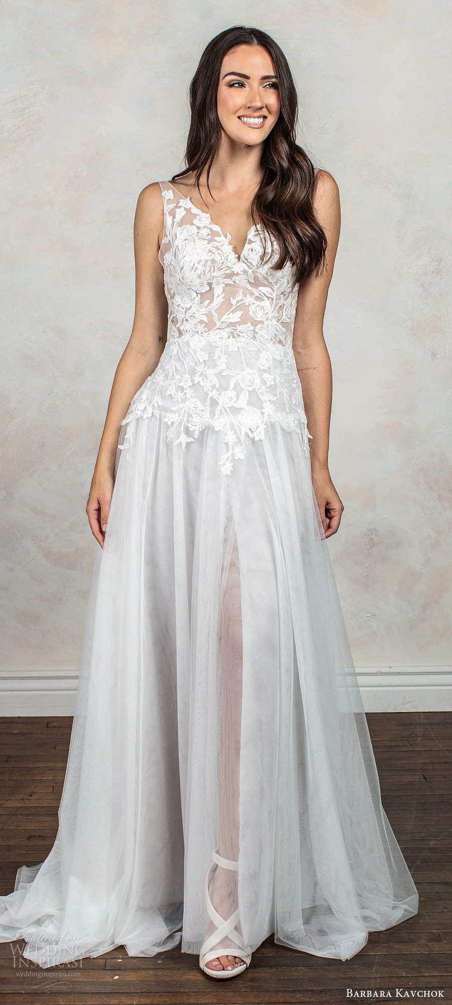 barbara kavchok fall 2020 bridal sleeveless illusion straps v neckline embellished sheer bodice a line ball gown wedding dress chapel train (6) mv