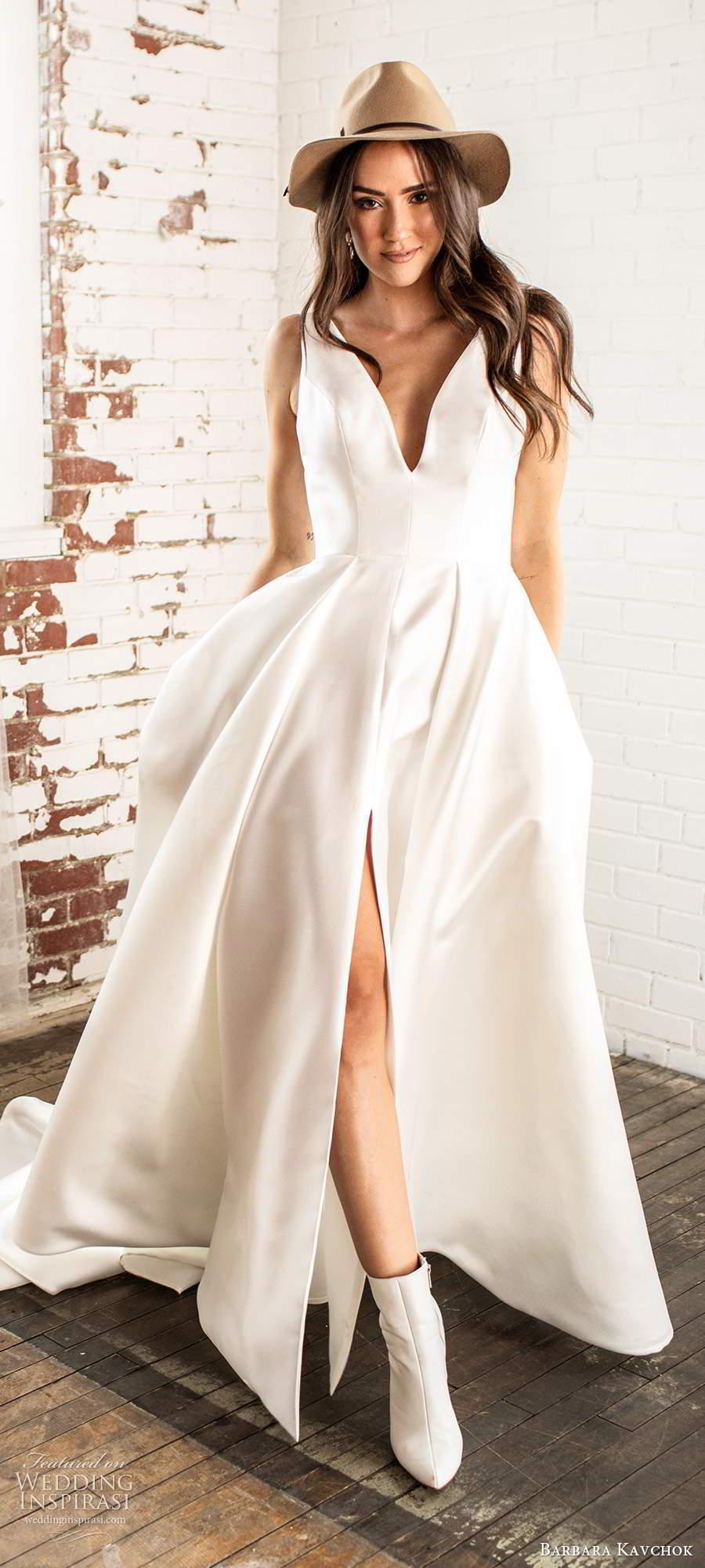 barbara kavchok fall 2020 bridal sleeveless thick straps plunging v neckline clean minimally embellished a line ball gown wedding dress chapel train (8) mv
