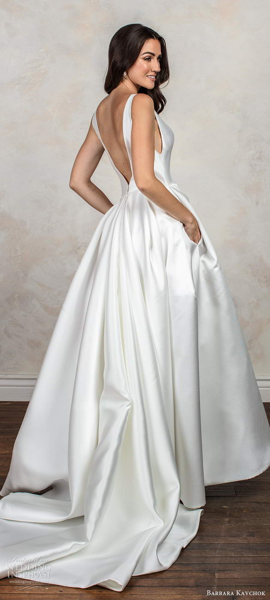 barbara kavchok fall 2020 bridal sleeveless thick straps plunging v neckline clean minimally embellished a line ball gown wedding dress pockets chapel train (8) mv